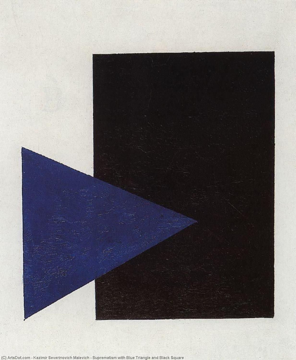 Suprematism with Blue Triangle and Black Square, 1915 by Kazimir Severinovich Malevich (1879-1935, Ukraine) | Art Reproduction | ArtsDot.com