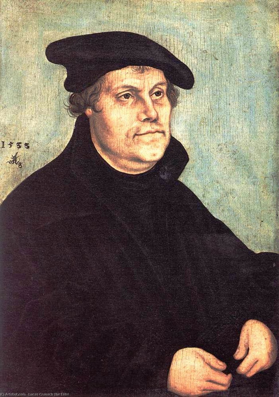 Portrait of Martin Luther, Oil On Panel by Lucas Cranach The Elder (1472-1553, Germany)