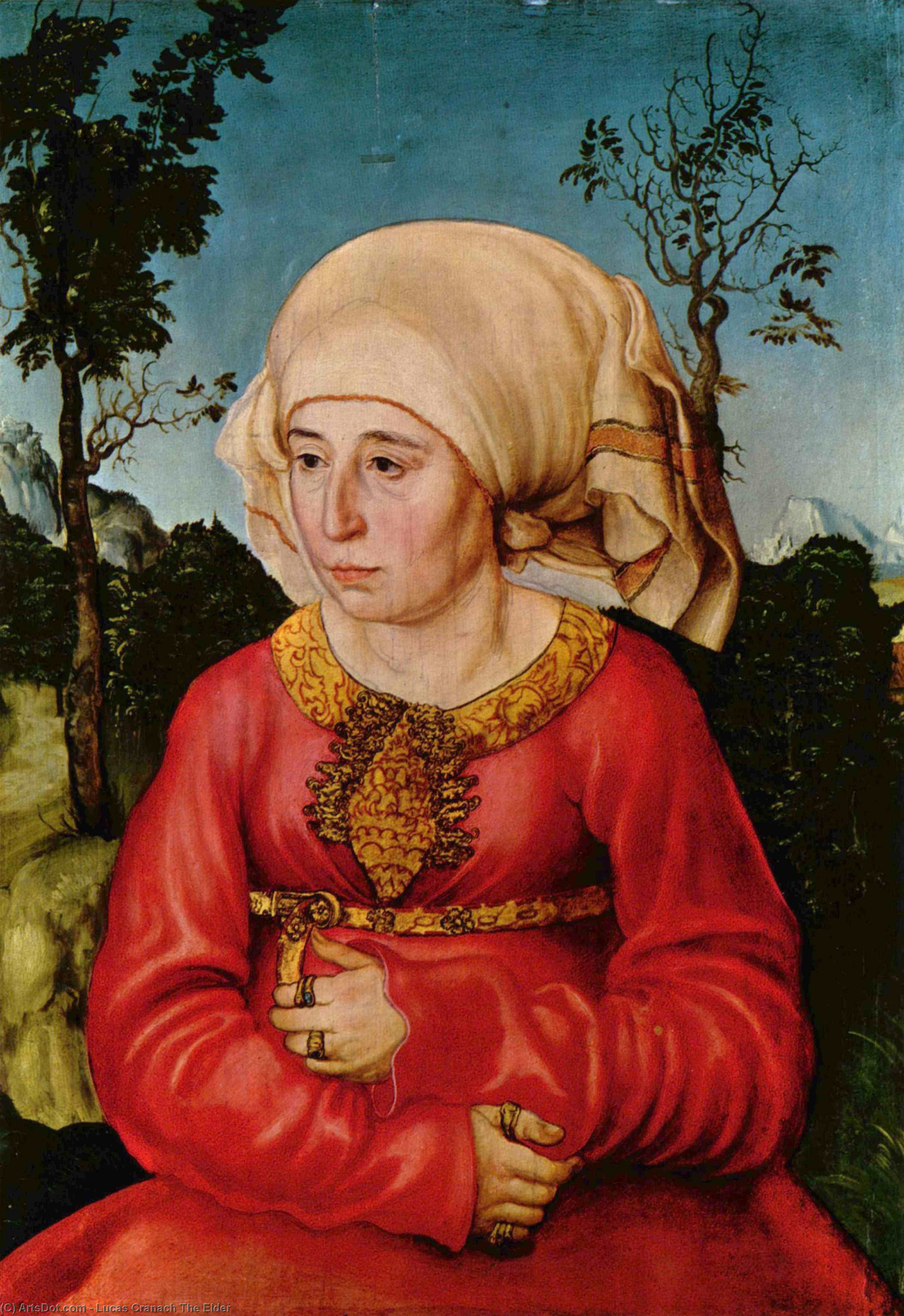 Wife of Dr. Johann Stephan Reuss, Oil by Lucas Cranach The Elder (1472-1553, Germany)