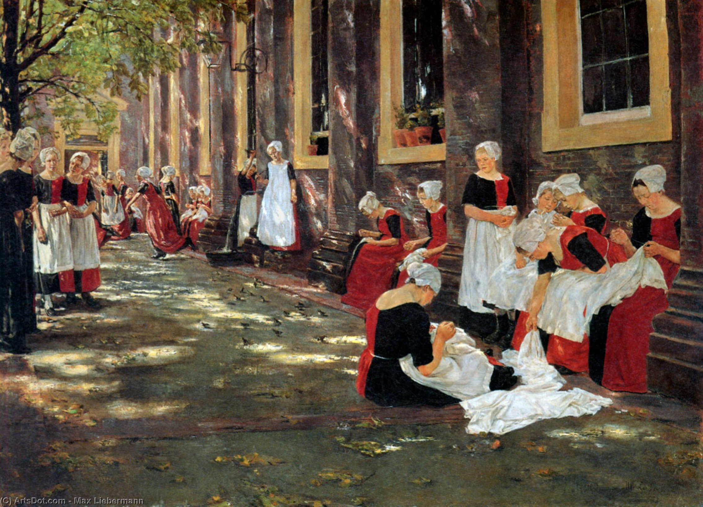 Free hour at Amsterdam orphanage, 1876 by Max Liebermann (1847-1935, Germany) | Museum Quality Copies Max Liebermann | ArtsDot.com