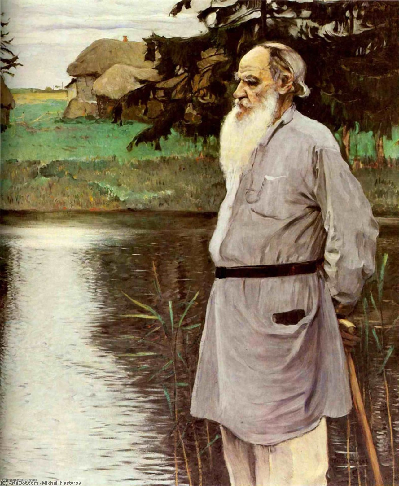 Portrait of Leo Tolstoy, Oil On Canvas by Mikhail Nesterov (1862-1942, Russia)