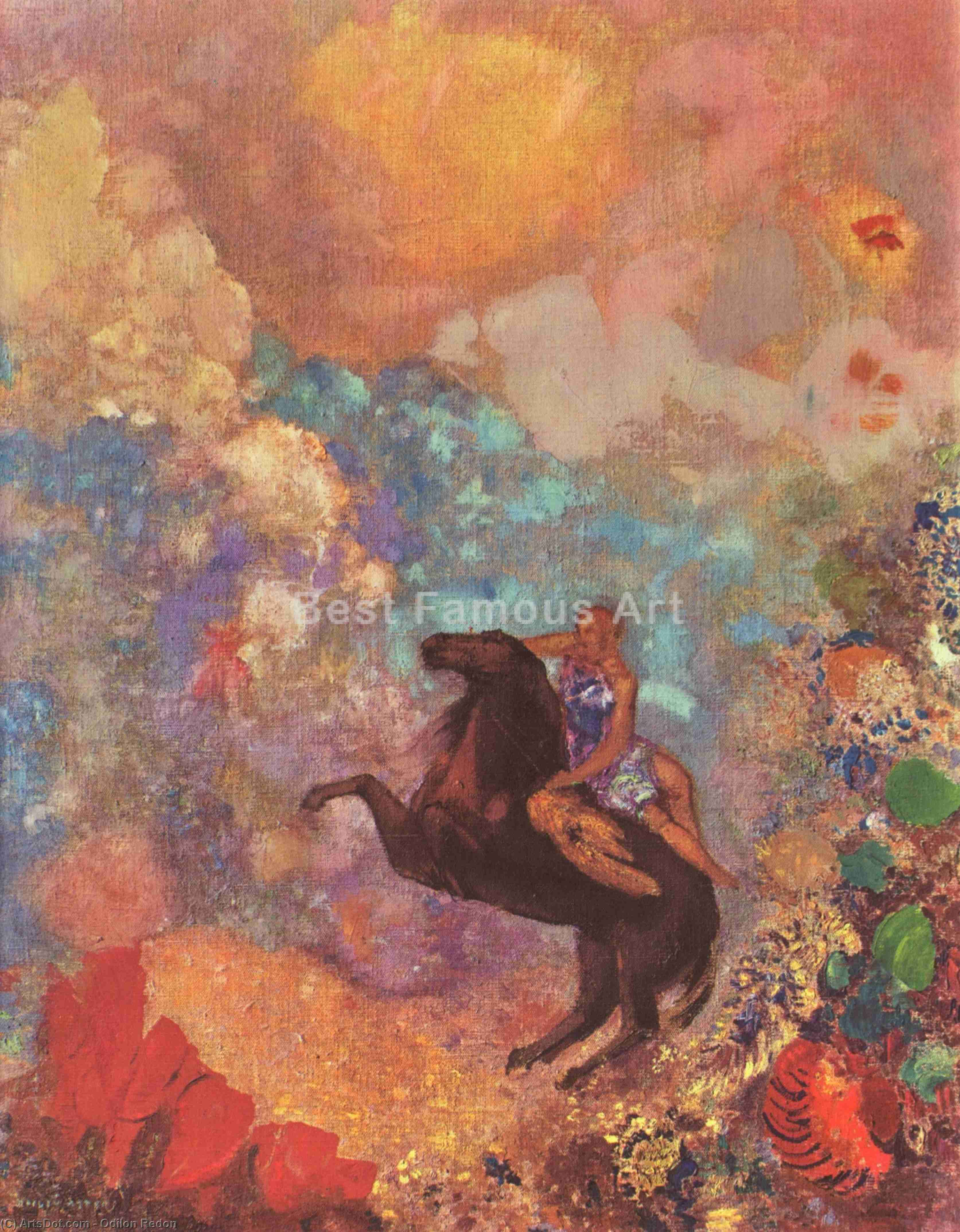 Buy Museum Art Reproductions : Muse on Pegasus, 1900 by Odilon Redon (1840-1916, France) | ArtsDot.com