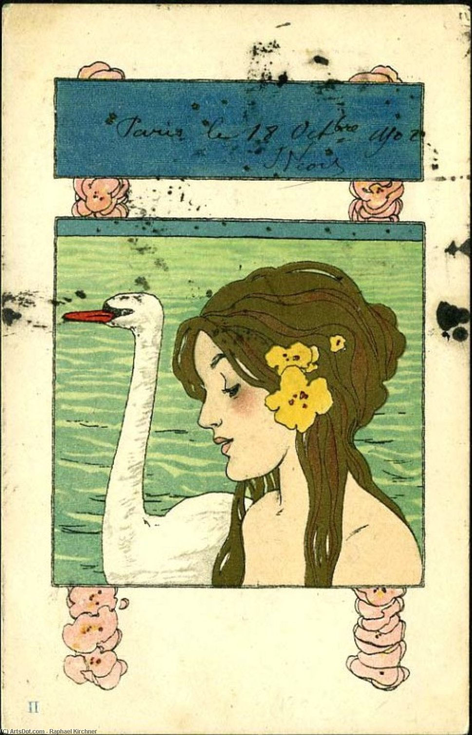 Leda and the Swan by Raphael Kirchner (1875-1917, Austria)