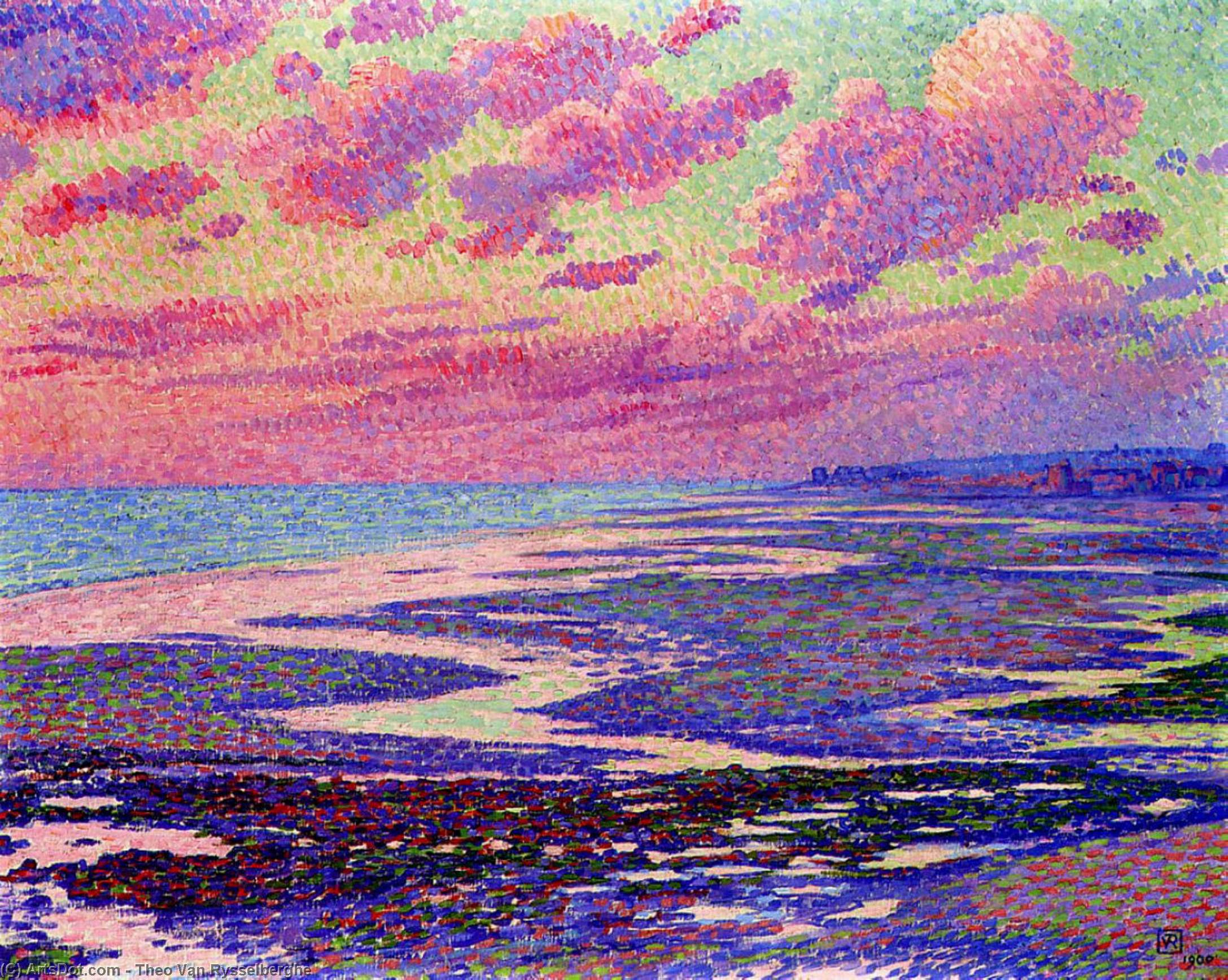 The Beach at Ambleteuse at Low Tide, Oil On Canvas by Theo Van Rysselberghe (1862-1926, Belgium)