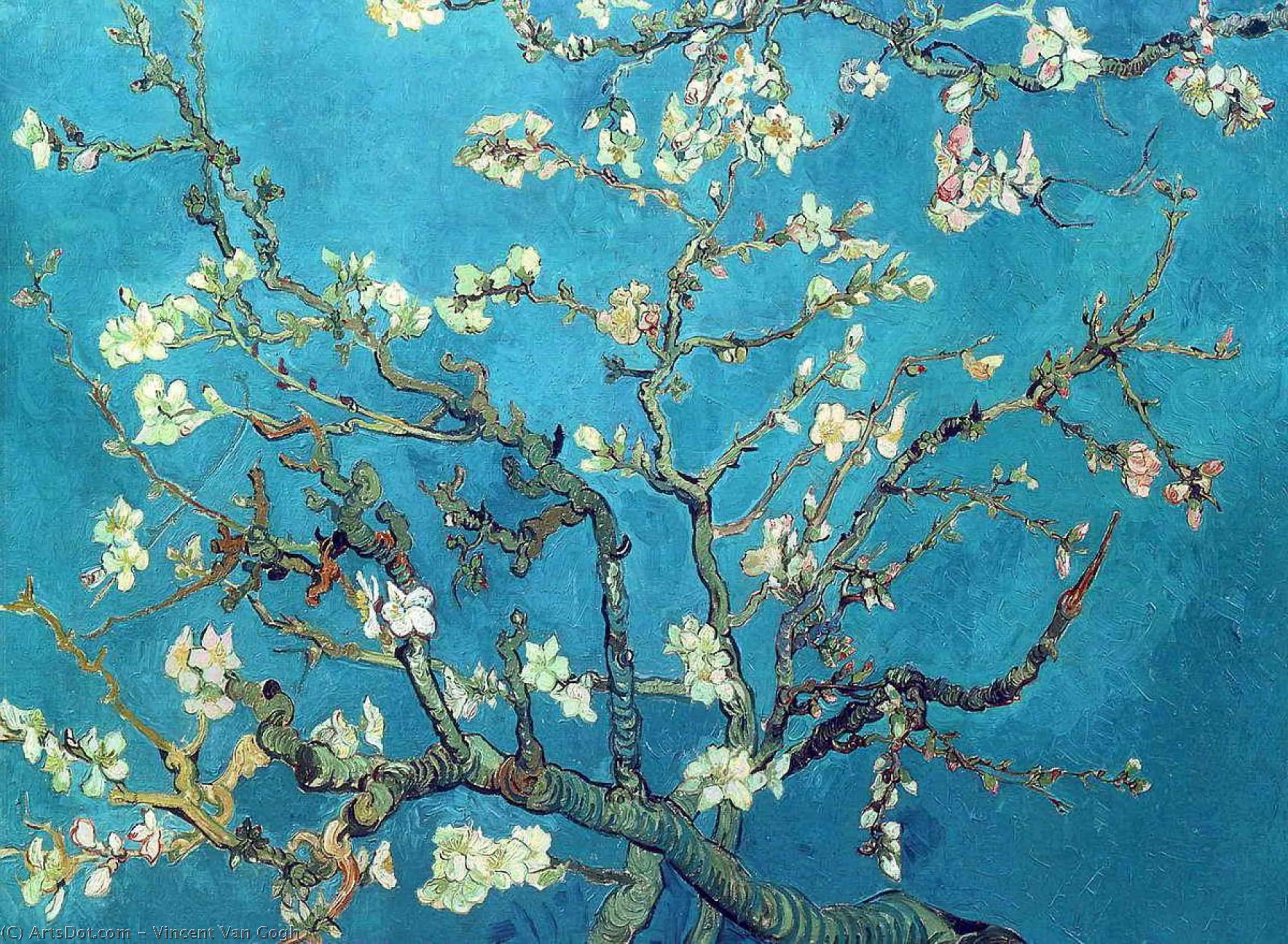 Branches with Almond Blossom, 1890 by Vincent Van Gogh (1853-1890, Netherlands) | Museum Quality Copies Vincent Van Gogh | ArtsDot.com