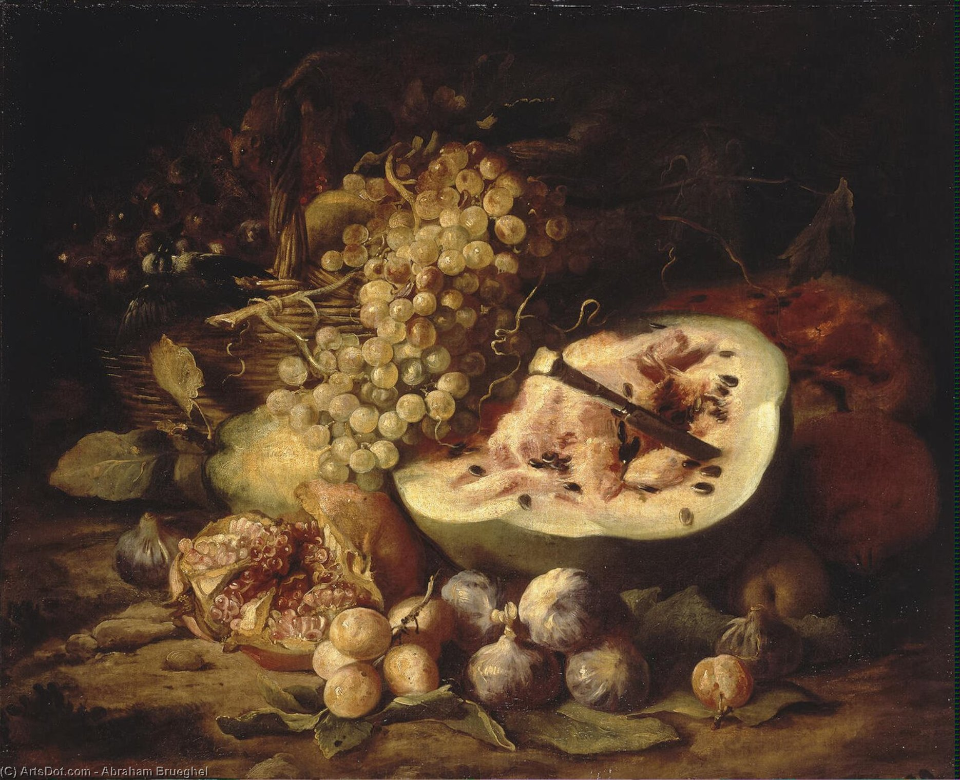 Fruit Still-Life, Oil On Canvas by Abraham Brueghel (1631-1690, Belgium)