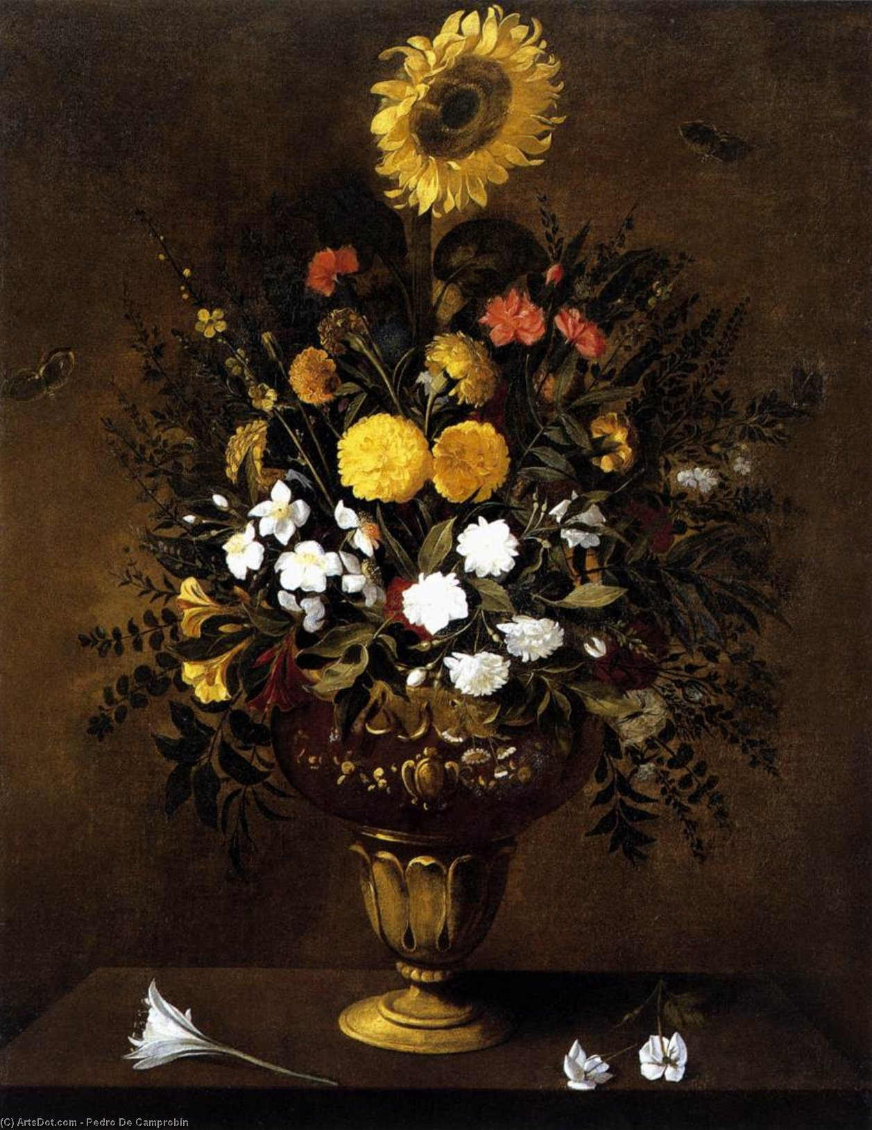 Vase of Flowers, 1665 by Pedro De Camprobín (1605-1674, Spain) | Art Reproductions Pedro De Camprobín | ArtsDot.com