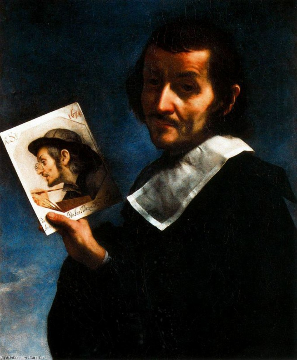 Self-Portrait, Oil On Canvas by Carlo Dolci (1616-1686, Italy)