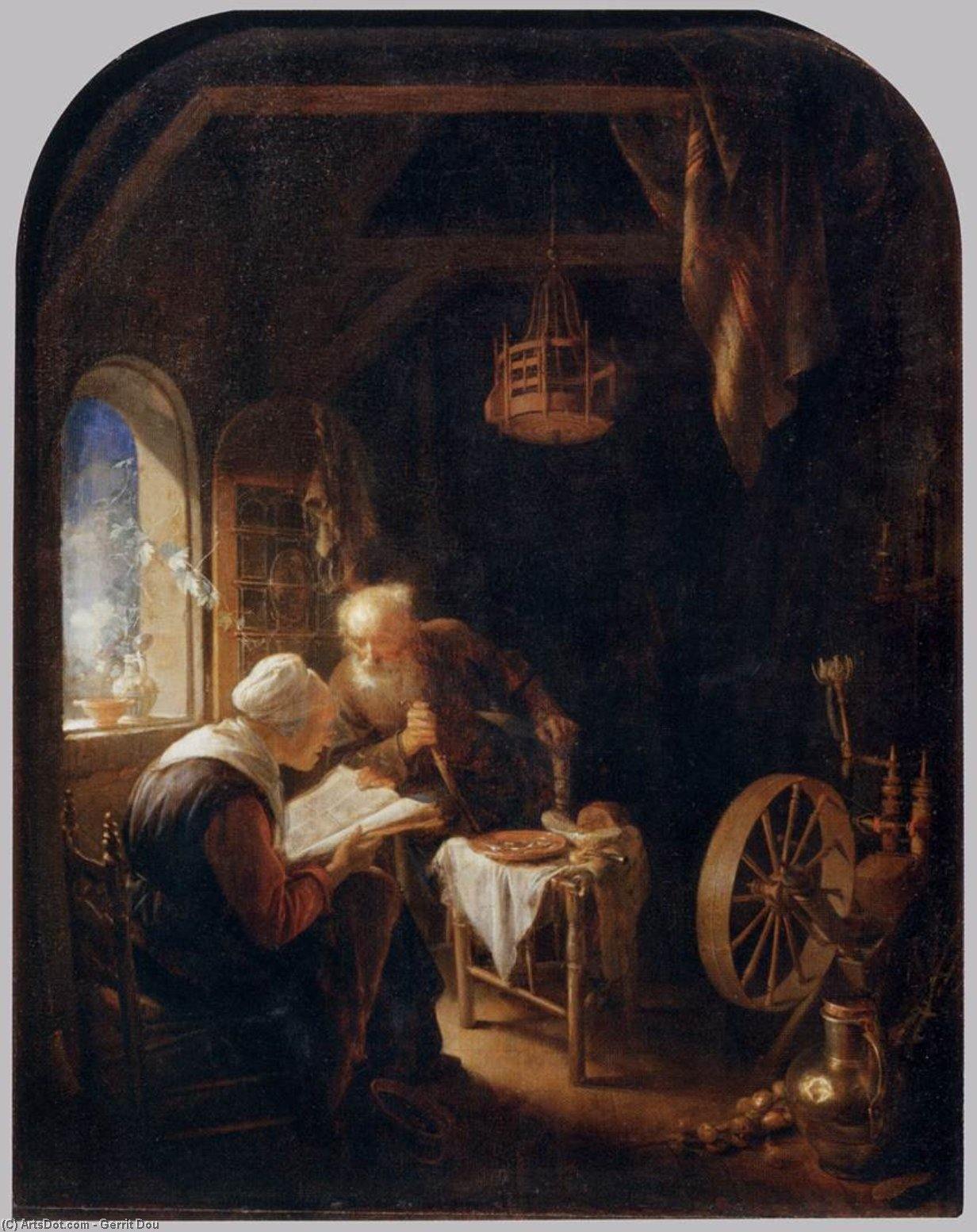 Reading the Bible, Oil by Gerrit (Gérard) Dou (1613-1675, Netherlands)