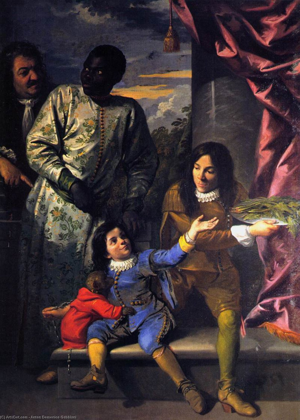 Portrait of Four Servants of the Medici Court, Oil On Canvas by Anton Domenico Gabbiani (1652-1726, Italy)
