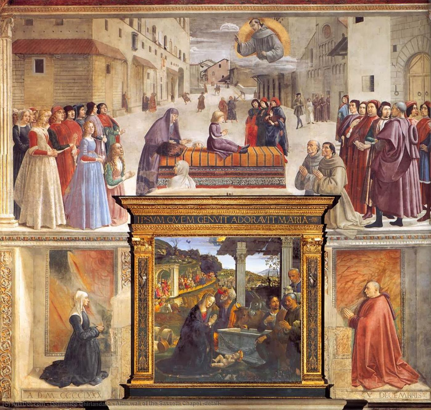 Altar wall of the Sassetti Chapel (detail), 1483 by Domenico Ghirlandaio (1449-1494, Italy) | Oil Painting | ArtsDot.com