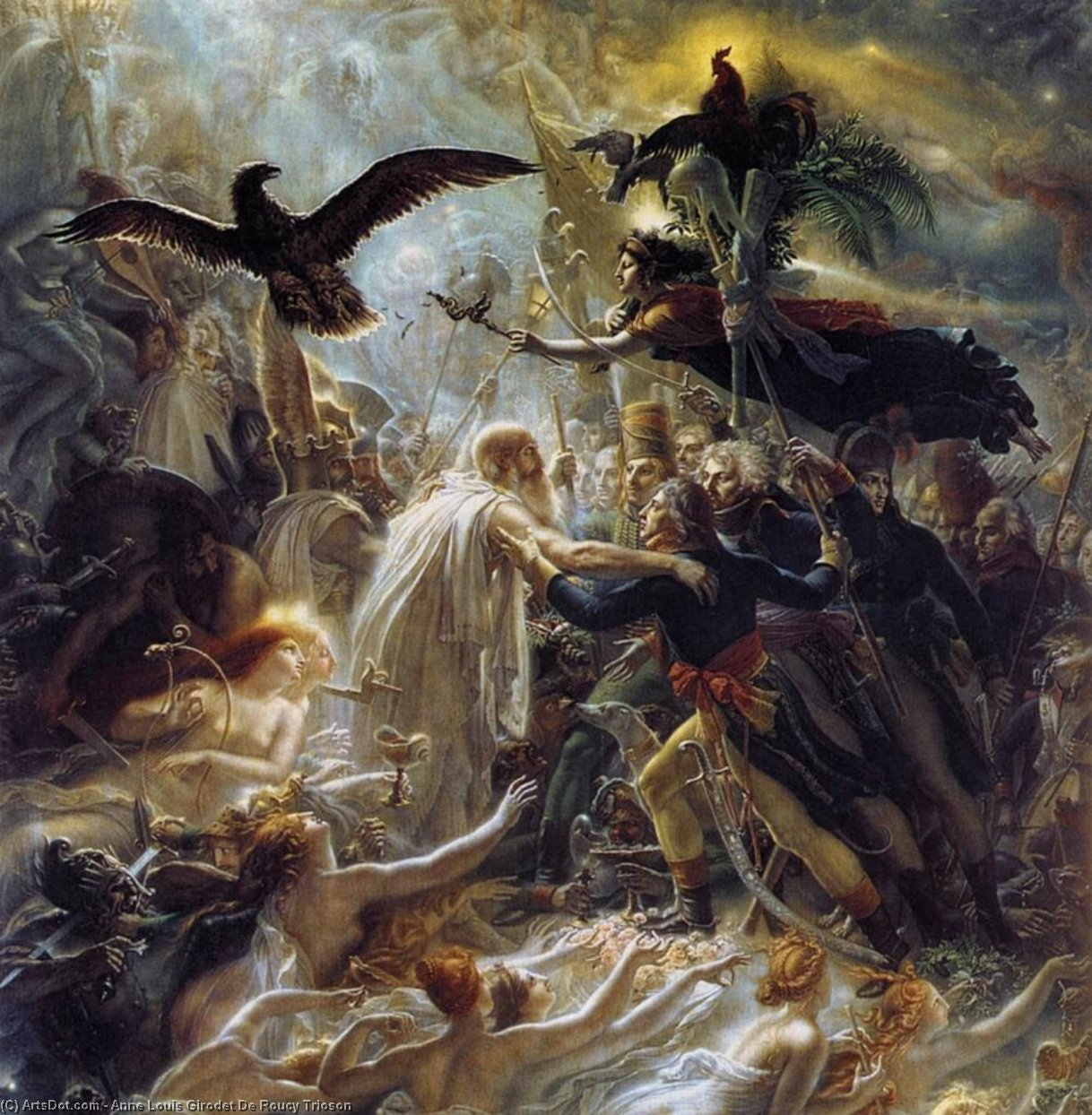 Ossian Receiving the Ghosts of French Heroes, Oil On Canvas by Anne Louis Girodet De Roucy Trioson (1767-1824, France)