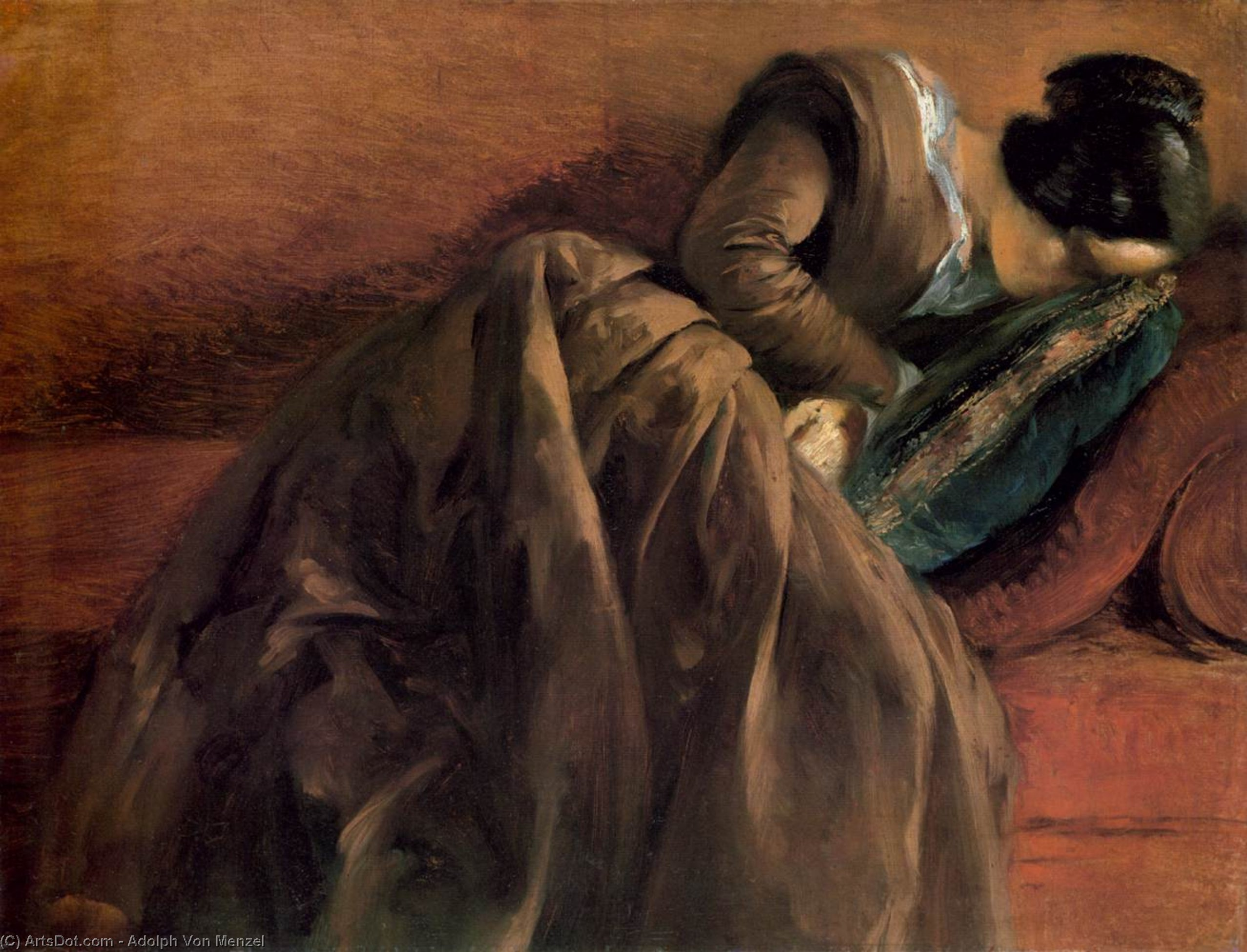 Sister Emily Sleeping, Oil On Canvas by Adolph Menzel (1815-1905, Poland)