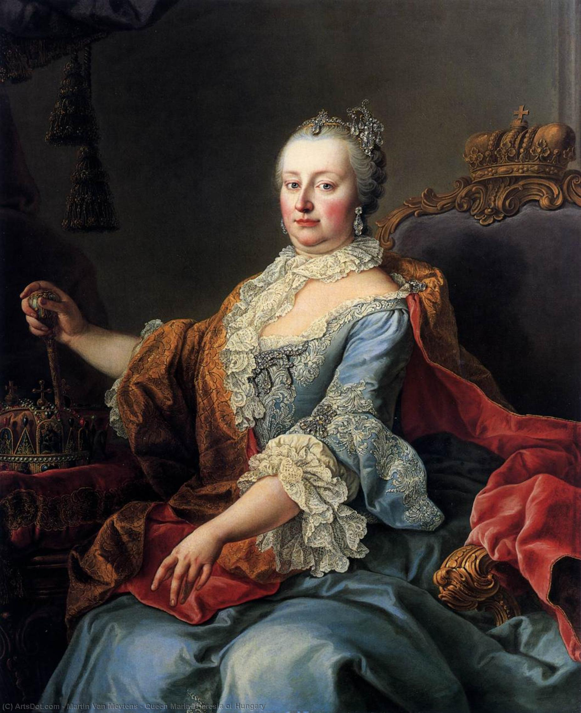 Queen Maria Theresia of Hungary, 1759 by Martin Van Meytens (1695-1770, Sweden) | Art Reproduction | ArtsDot.com