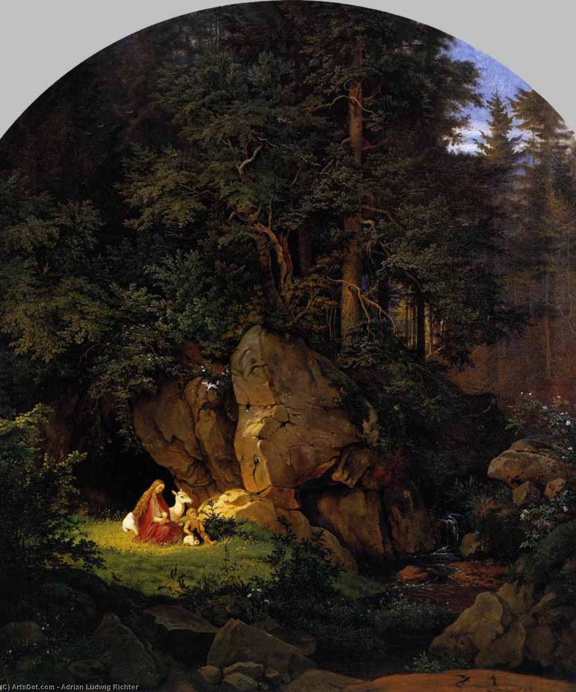 Genoveva in the Forest Seclusion, Oil On Canvas by Adrian Ludwig Richter (1803-1884, Germany)