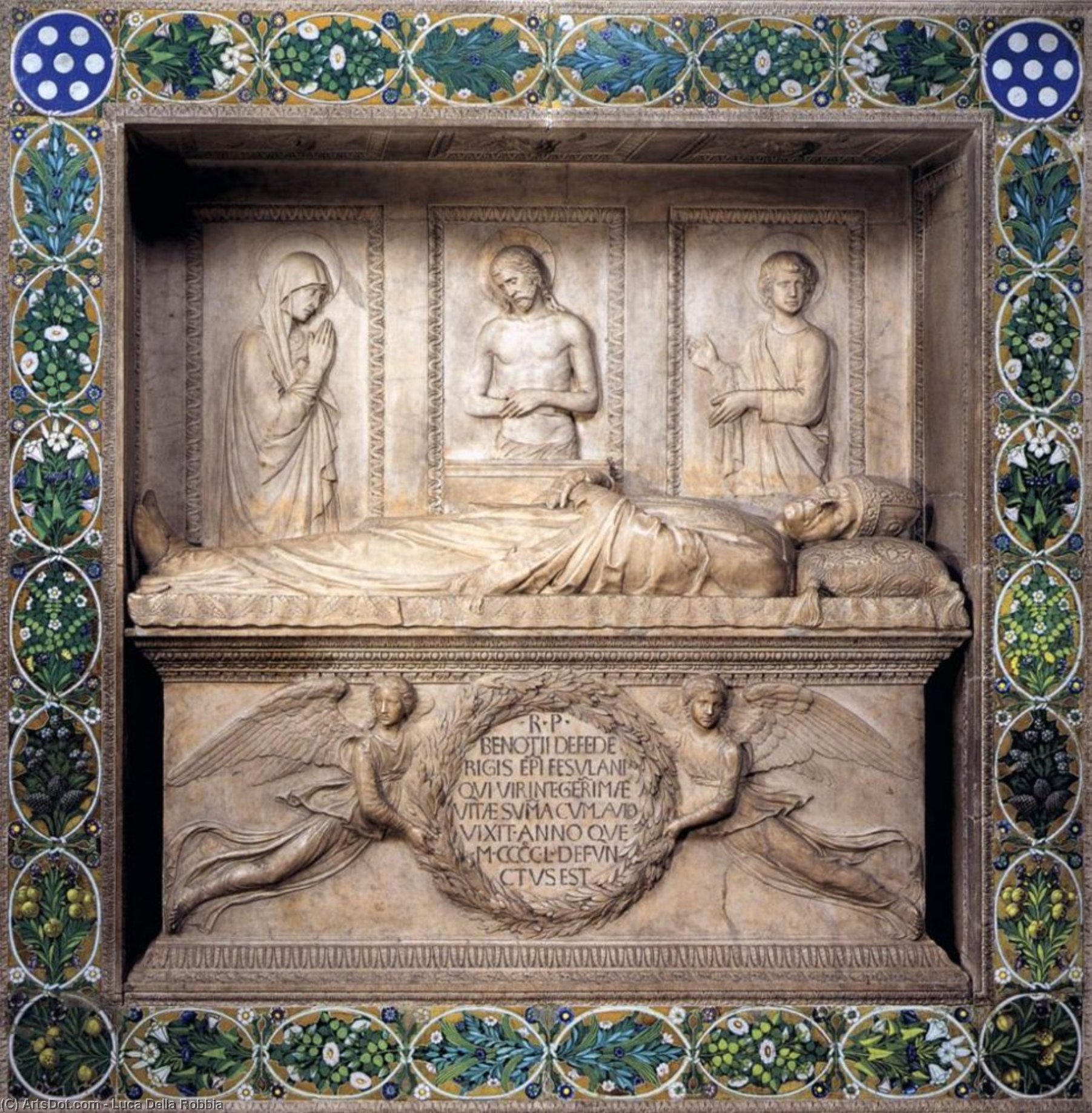 Monument to Bishop Benozzo Federighi, Marble by Luca Della Robbia (1399-1483, Italy)