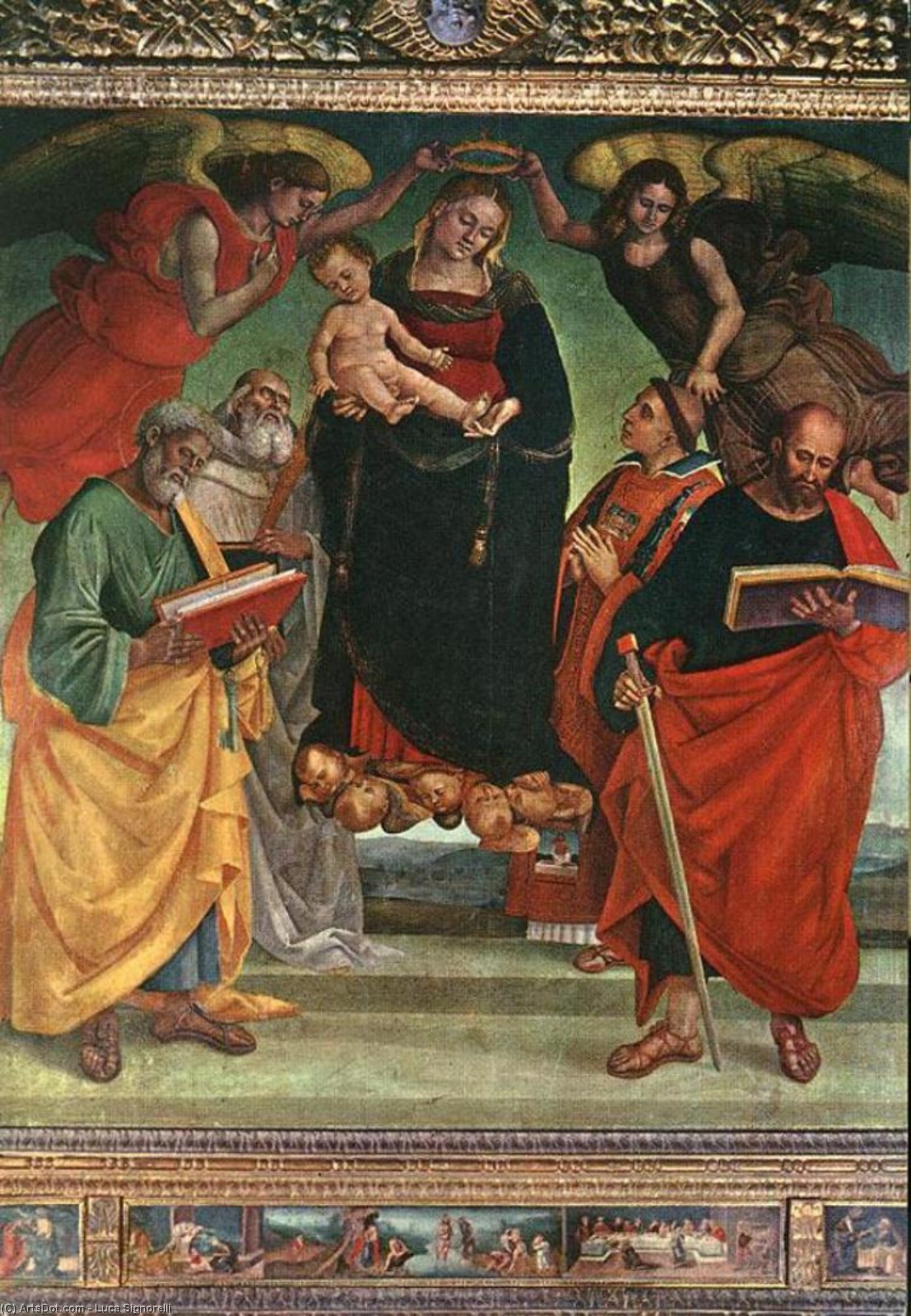 Madonna and Child with Saints, Panel by Luca Signorelli (1445-1523, Italy)