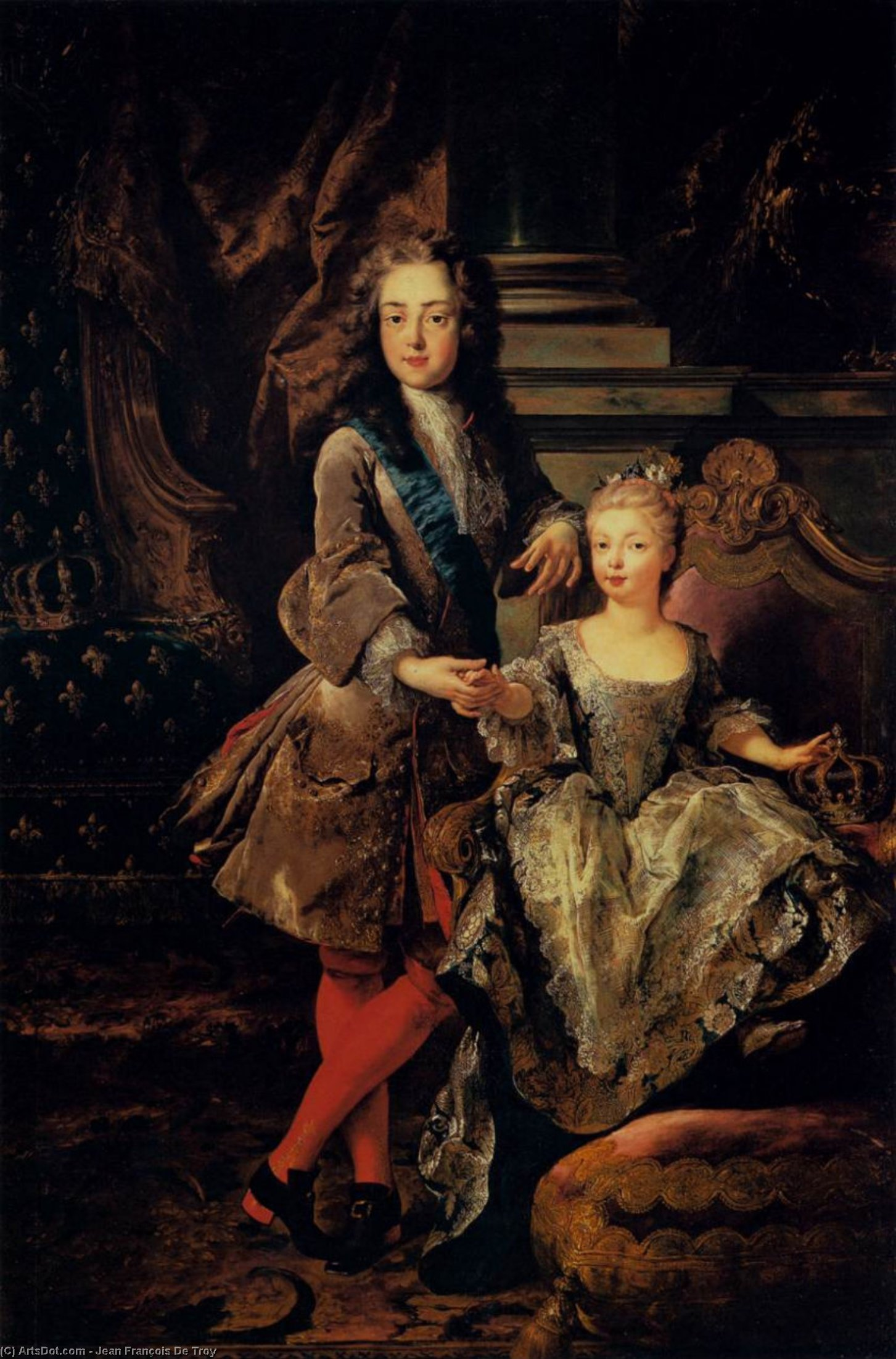 Portrait of Louis XV of France and Maria Anna Victoria of Spain, Oil On Canvas by Jean François De Troy (1645-1730, France)