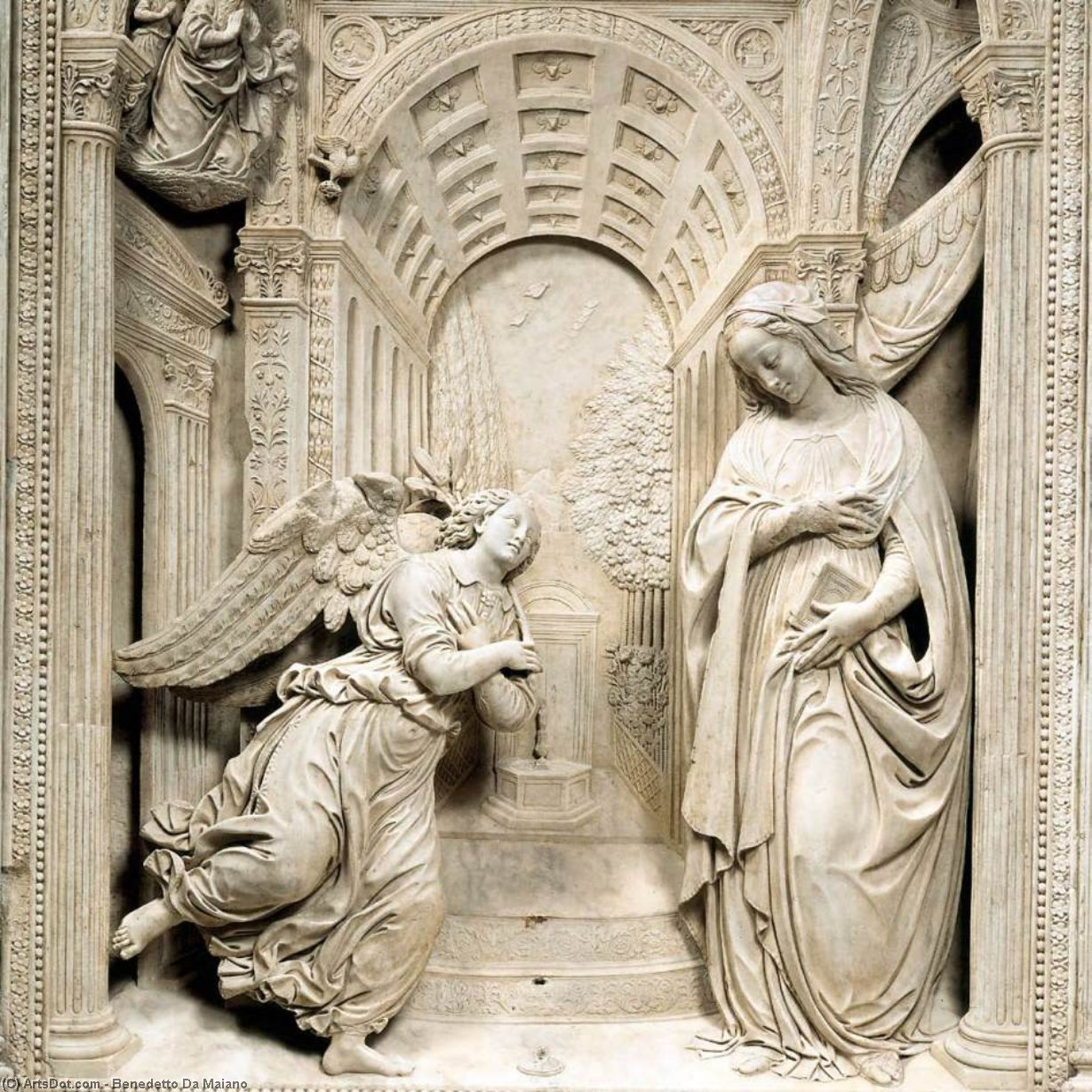 Altarpiece of the Annunciation (detail), Marble by Benedetto Da Maiano (1446-1497, Italy)