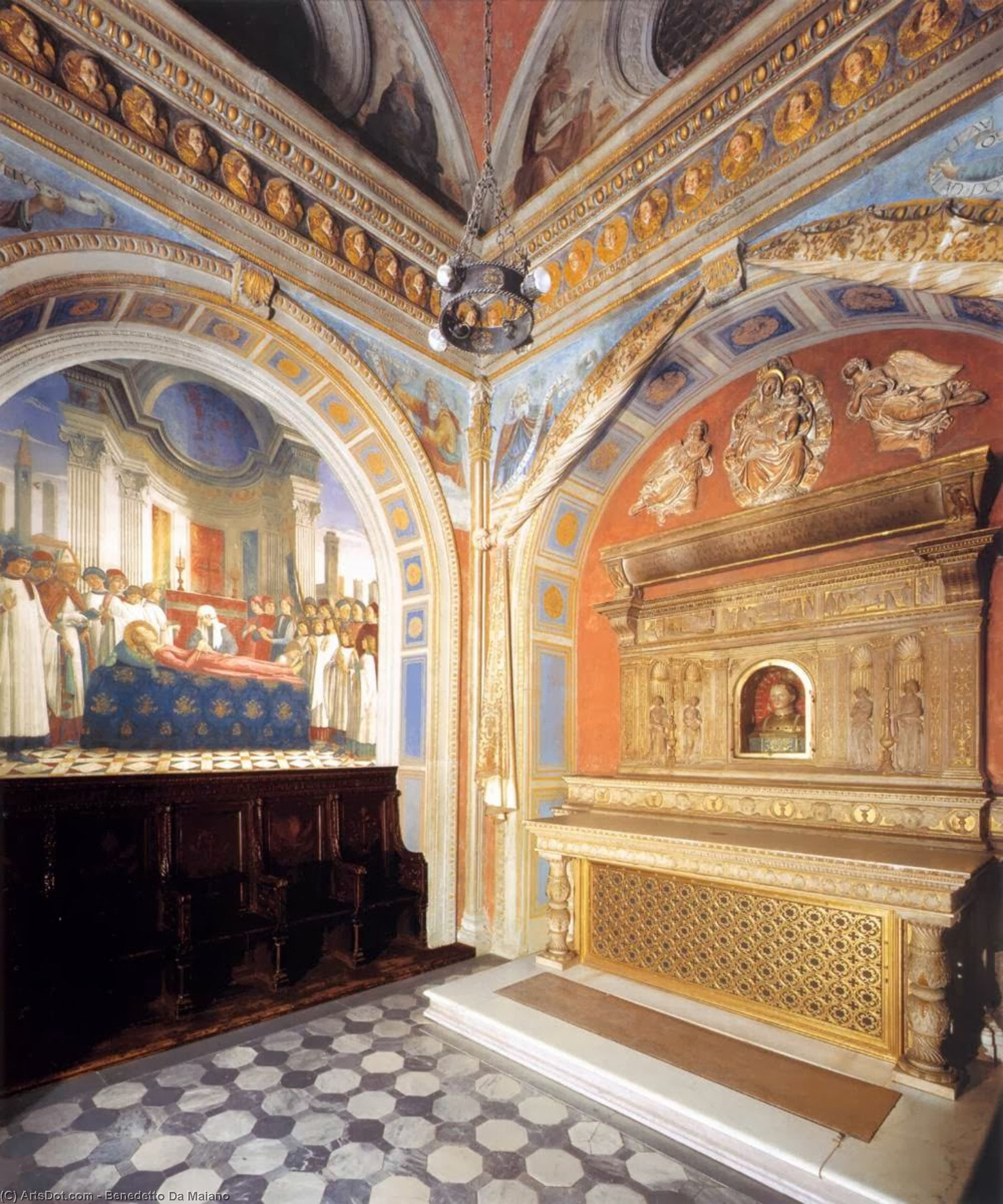 Interior of the Chapel St Fina, Frescoes by Benedetto Da Maiano (1446-1497, Italy)