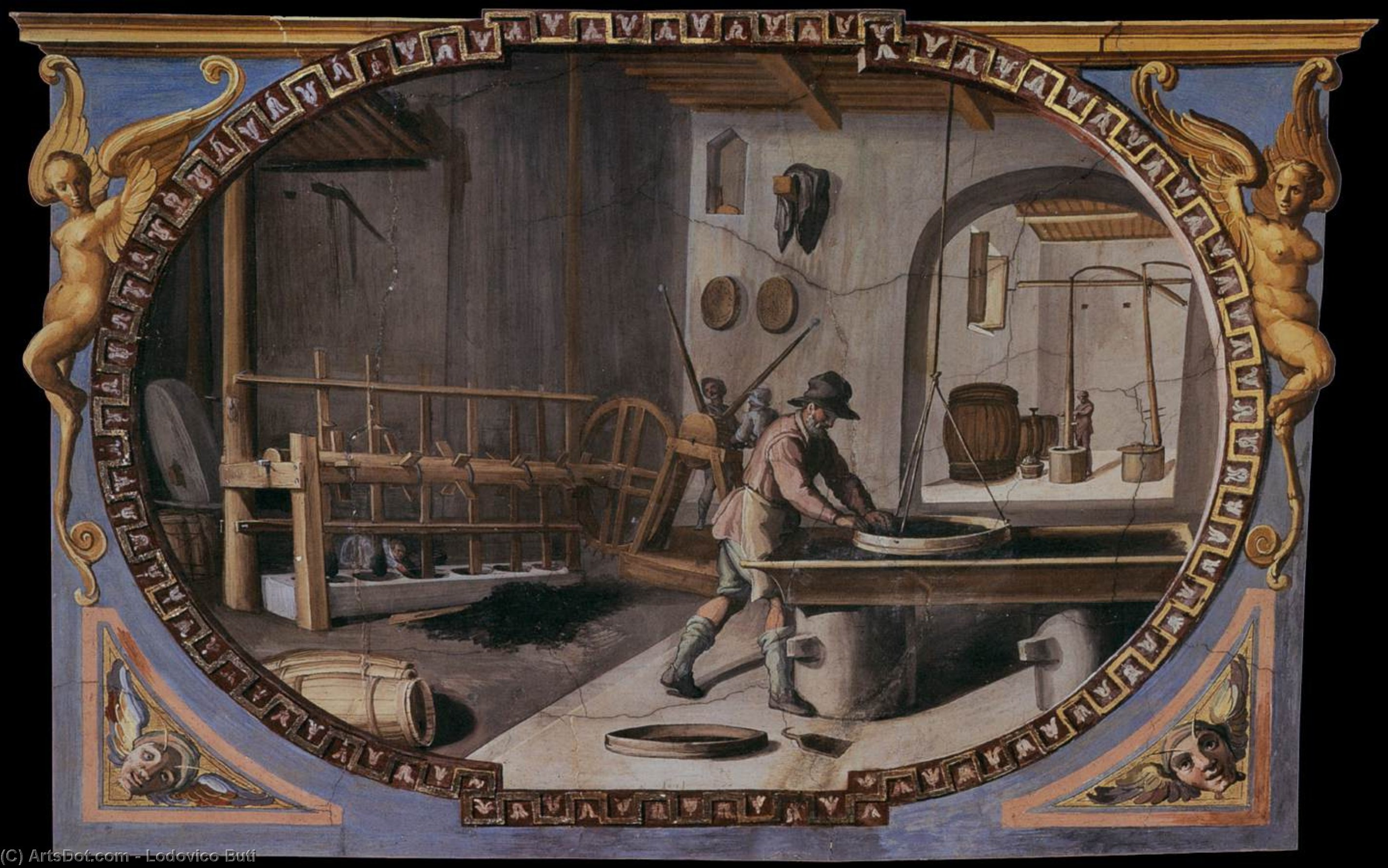 Preparation of Gunpowder, Frescoes by Lodovico Buti (1560-1611)