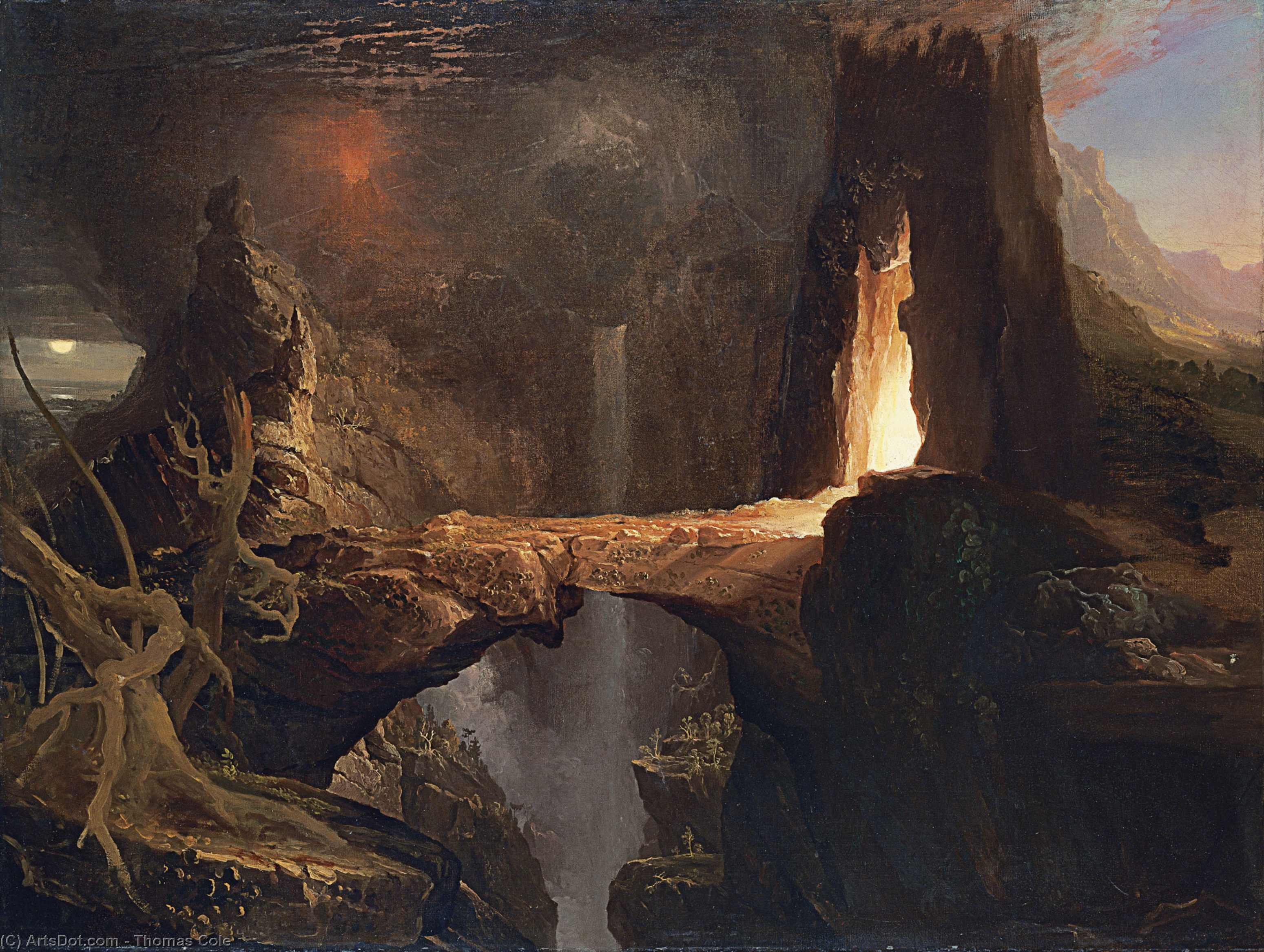 Expulsion, Moon and Firelight, Oil On Canvas by Thomas Cole (1801-1848, United Kingdom)