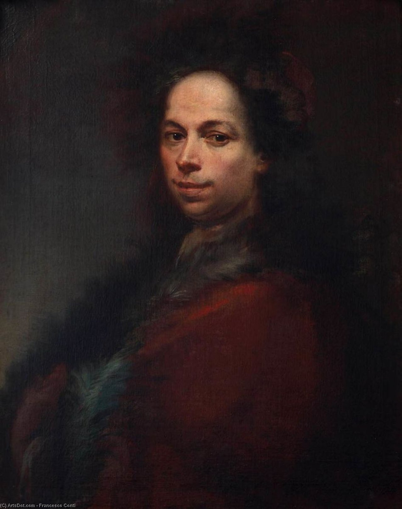 Self-Portrait, Oil On Canvas by Francesco Conti (1681-1760, Italy)