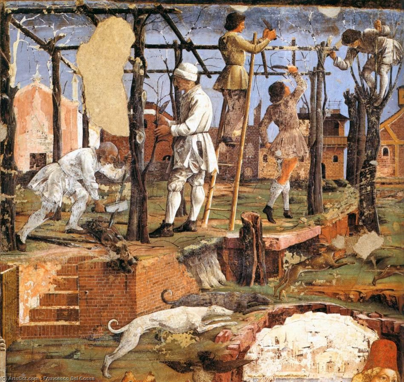 Allegory of March: Triumph of Minerva (detail) (14), Frescoes by Francesco Del Cossa (1436-1477, Italy)