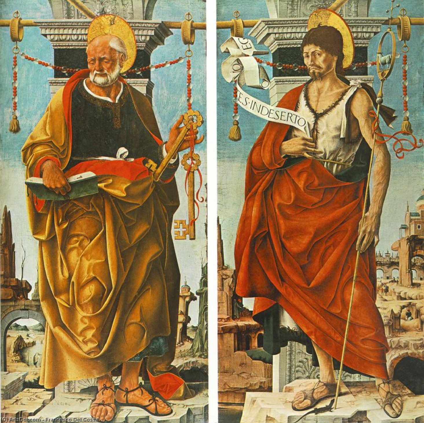 Griffoni Polyptych: St Peter and St John the Baptist, Oil On Panel by Francesco Del Cossa (1436-1477, Italy)
