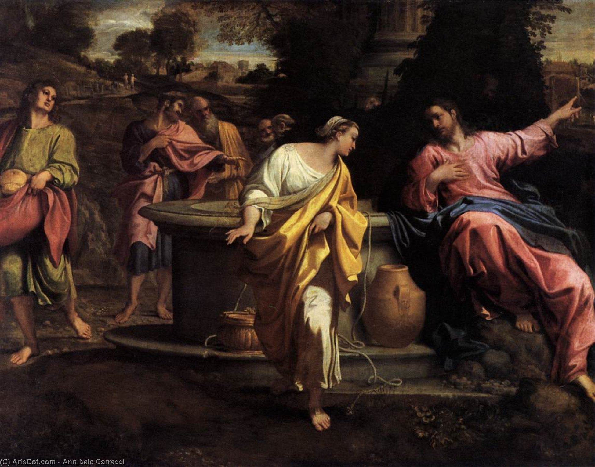 Order Museum Quality Reproductions : The Samaritan Woman at the Well by Annibale Carracci (1560-1609, Italy) | ArtsDot.com