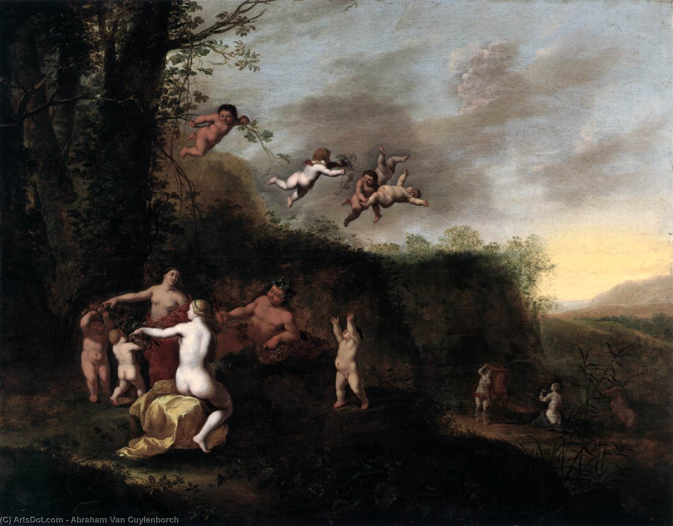Bacchus and Nymphs in Landscape, Oil On Panel by Abraham Van Cuylenborch (1620-1658, Netherlands)