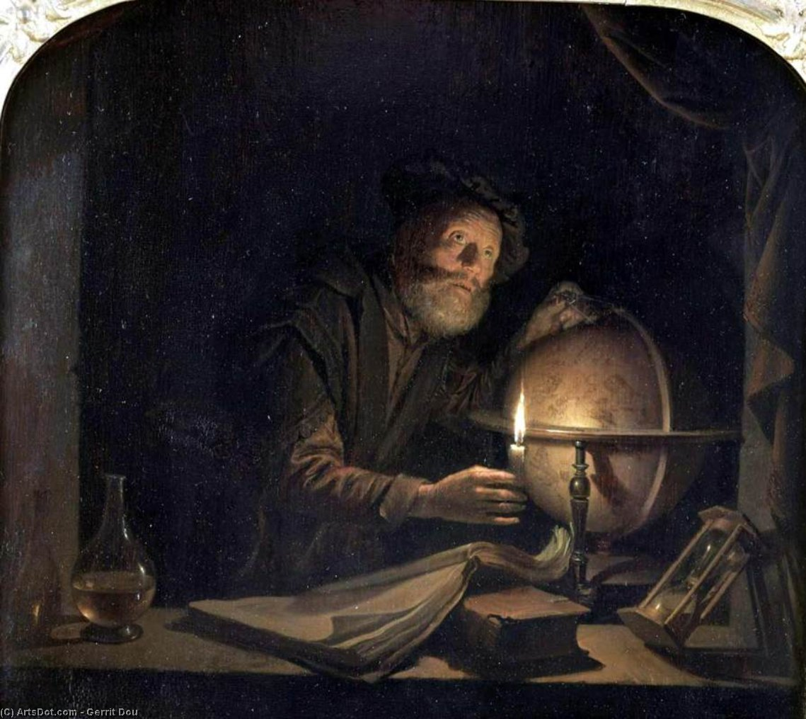 Astronomer, 1650 by Gerrit (Gérard) Dou (1613-1675, Netherlands) | Art Reproduction | ArtsDot.com