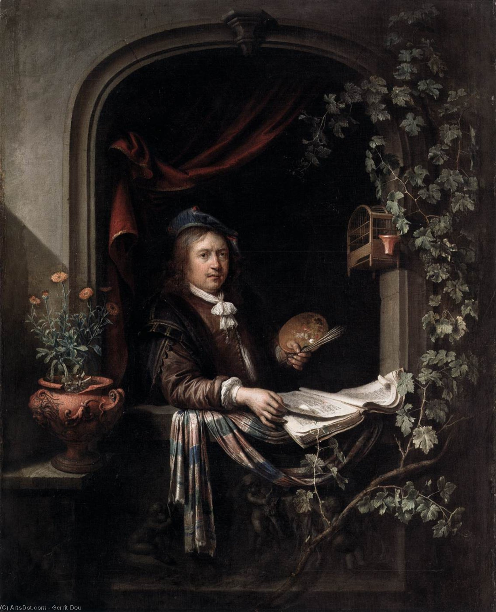 Self-Portrait, Oil by Gerrit (Gérard) Dou (1613-1675, Netherlands)