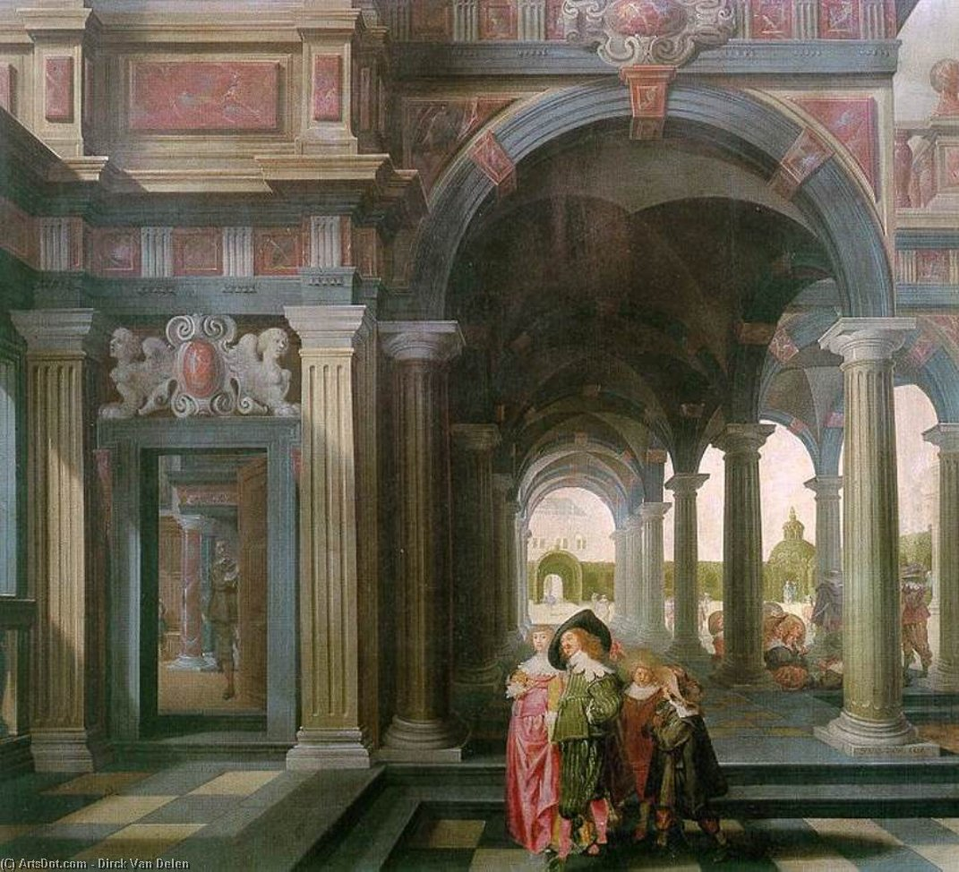 Palace Courtyard with Figures, Oil On Panel by Dirck Van Delen (1605-1671, Netherlands)