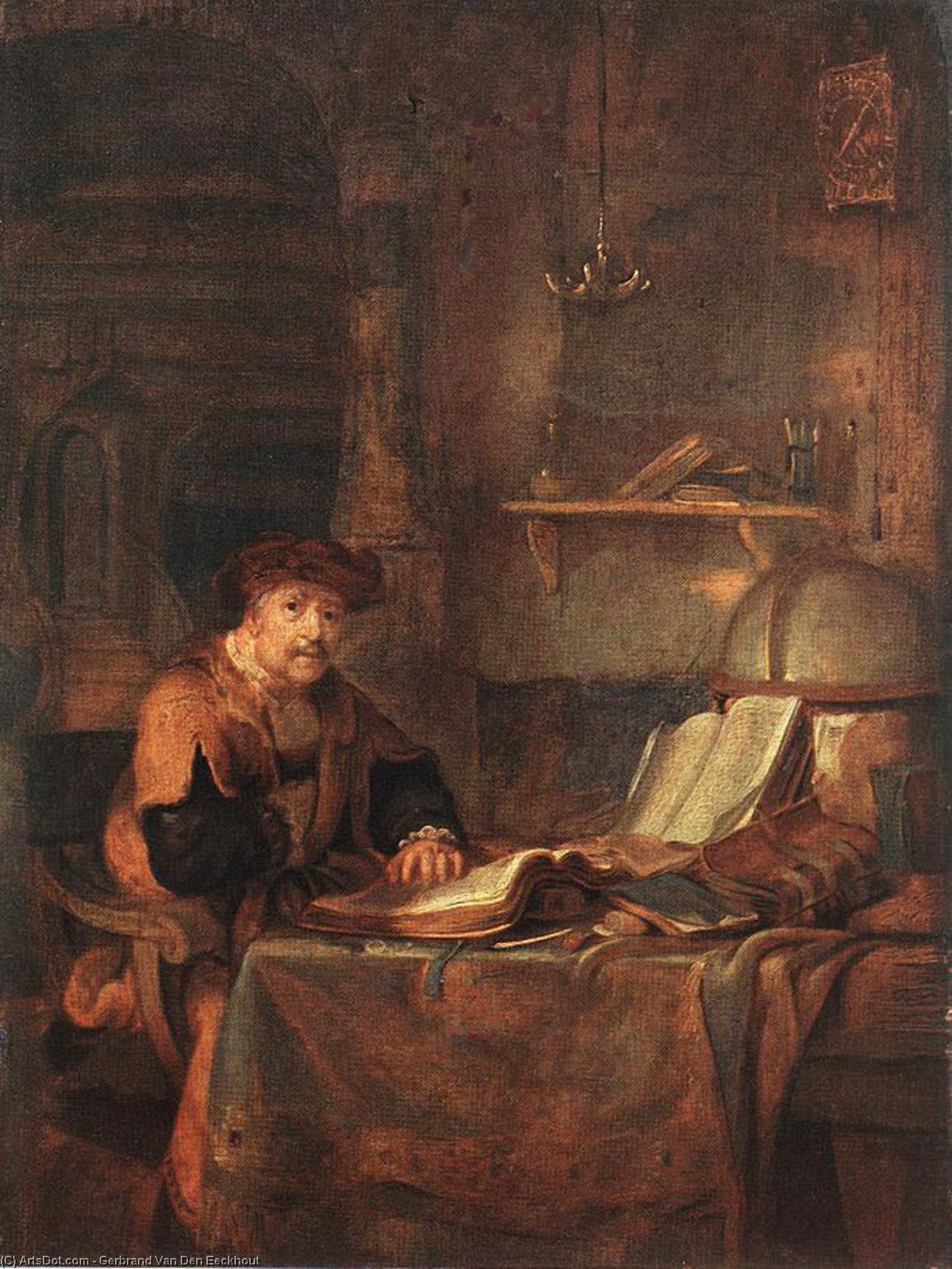 Scholar with his Books, Oil On Canvas by Gerbrand Van Den Eeckhout (1621-1674, Netherlands)