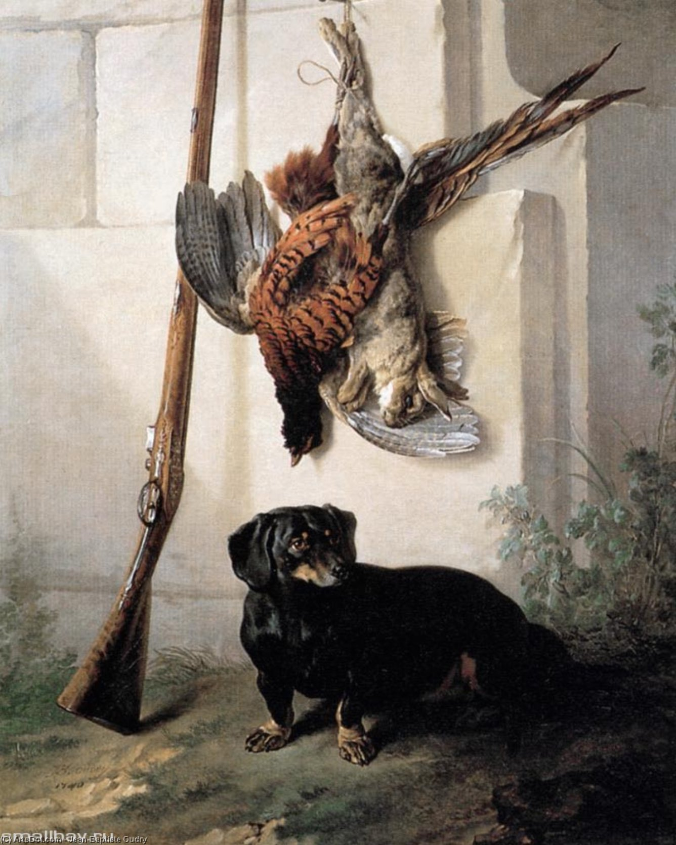 Hound with Gun and Dead Game, Oil On Canvas by Jean-Baptiste Oudry (1686-1755, France)