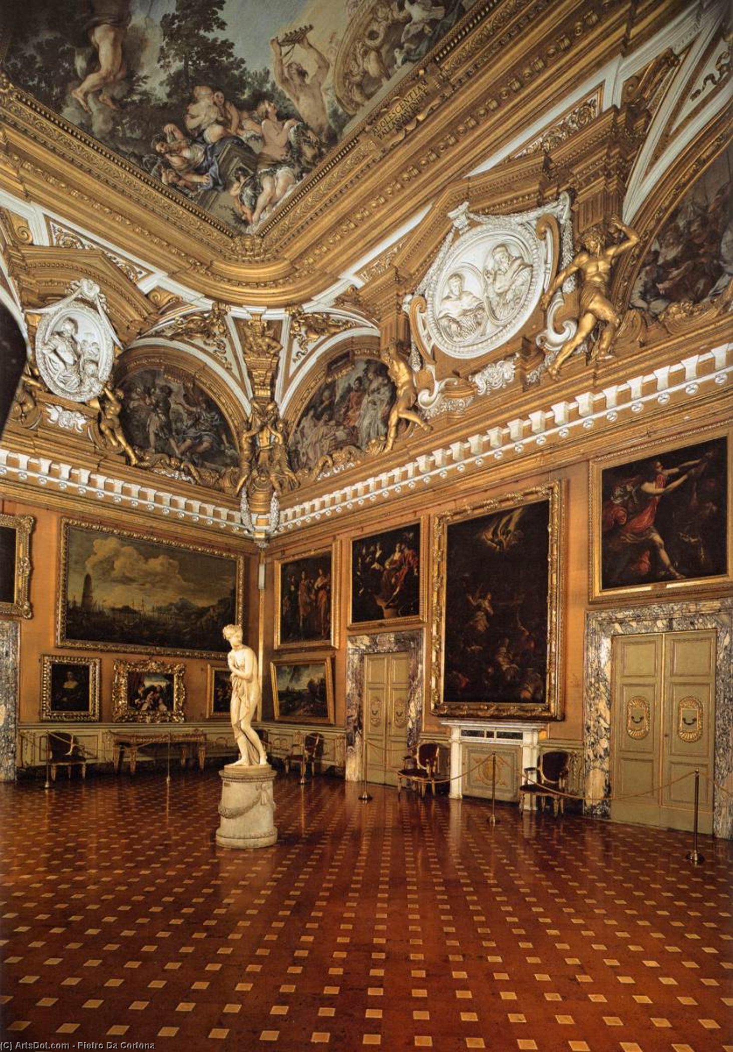 View of the Hall of Venus, Frescoes by Pietro Da Cortona (1596-1669, Italy)
