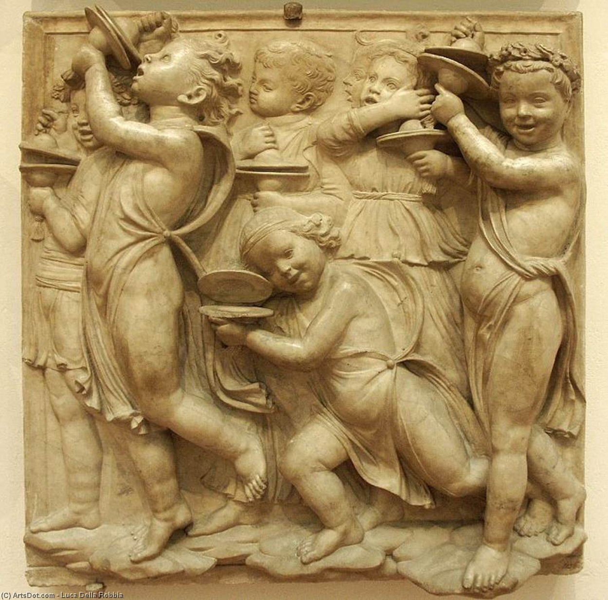 Cantoria: fourth bottom relief, Marble by Luca Della Robbia (1399-1483, Italy)