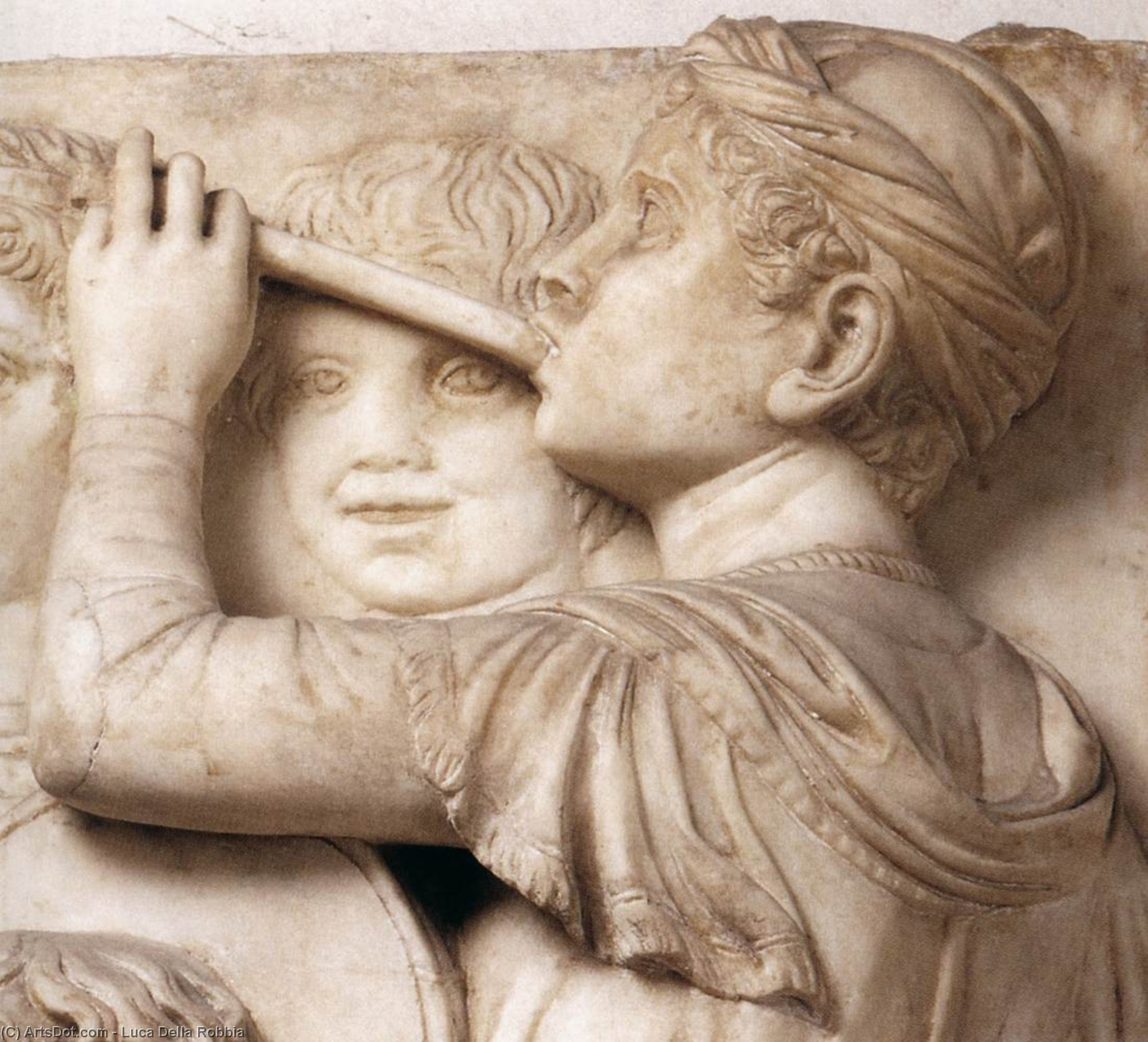 Cantoria: fourth top relief (detail), Marble by Luca Della Robbia (1399-1482, Italy)