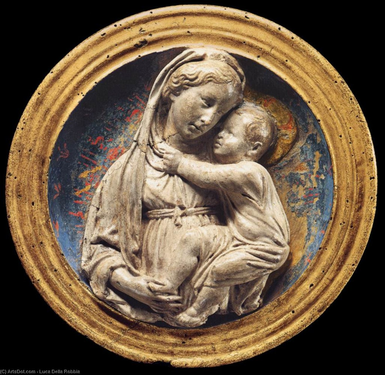 Madonna and Child (9), Wood by Luca Della Robbia (1399-1482, Italy)