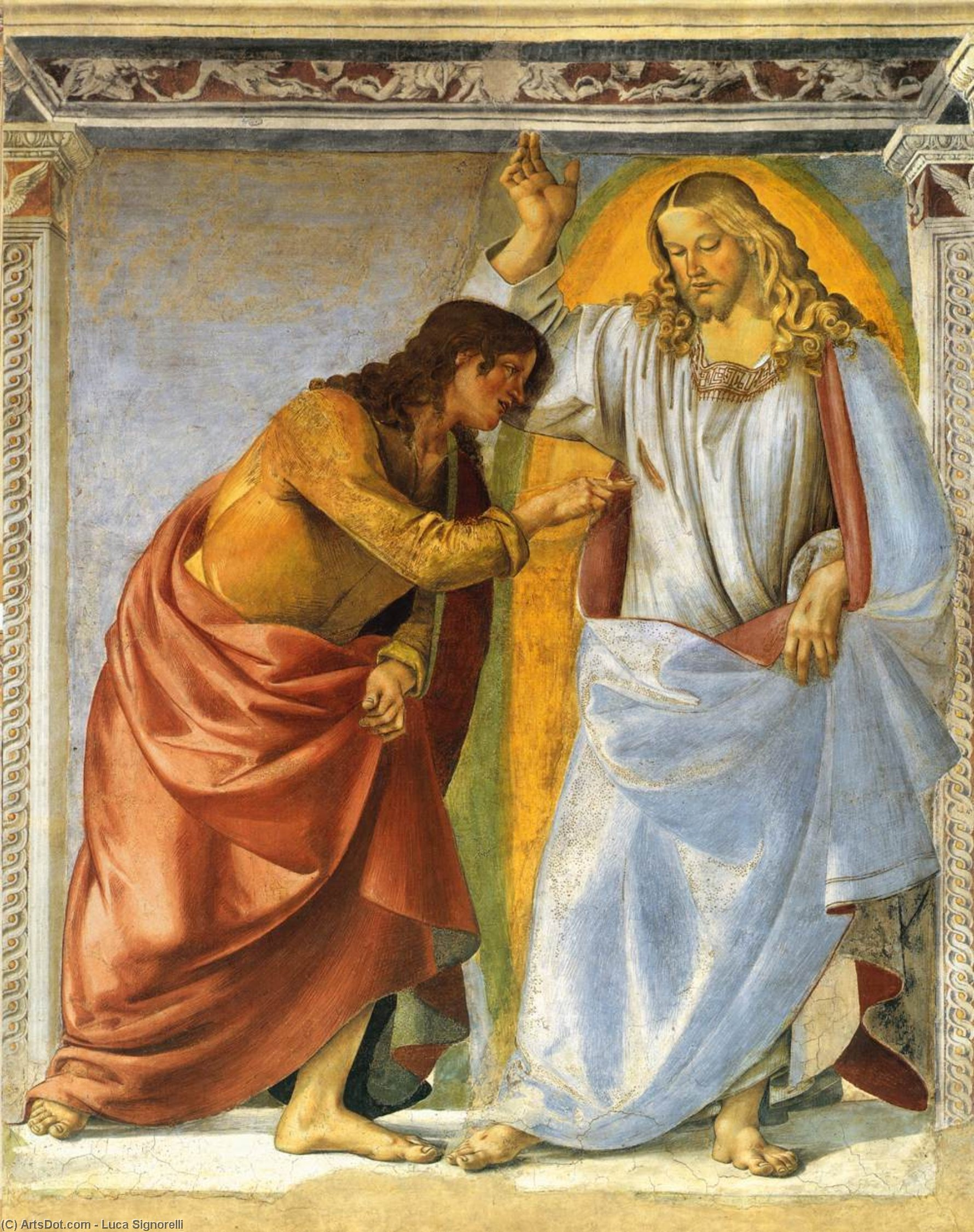 Christ and the Doubting Thomas, Frescoes by Luca Signorelli (1450-1523, Italy)