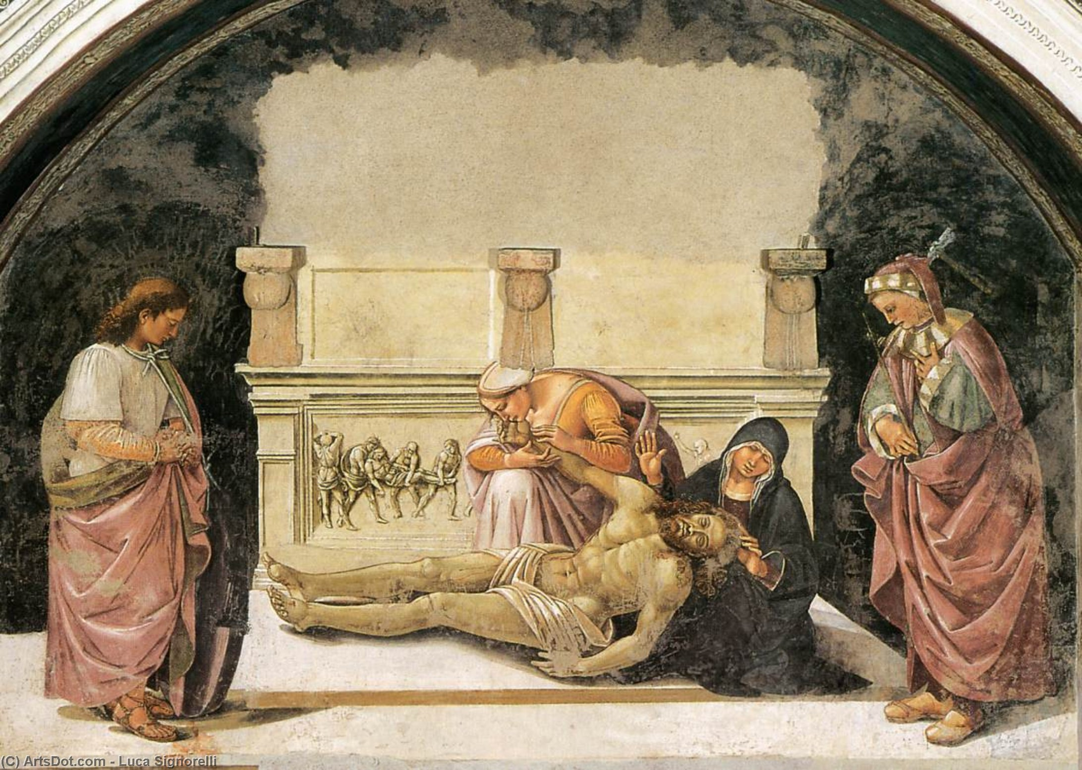 Lamentation over the Dead Christ with Sts Faustinus and Parentius, Frescoes by Luca Signorelli (1445-1523, Italy)