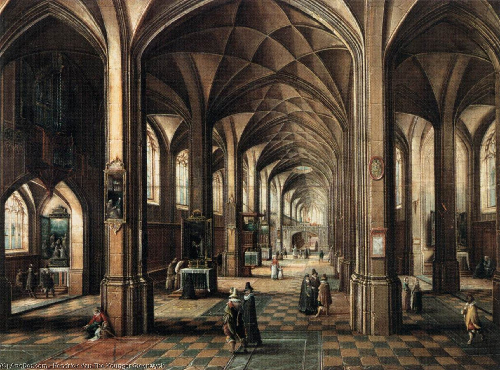 Interior of a Church with a Family in the Foreground, Oil On Canvas by Hendrick Van The Younger Steenwyck (1580-1649, Belgium)