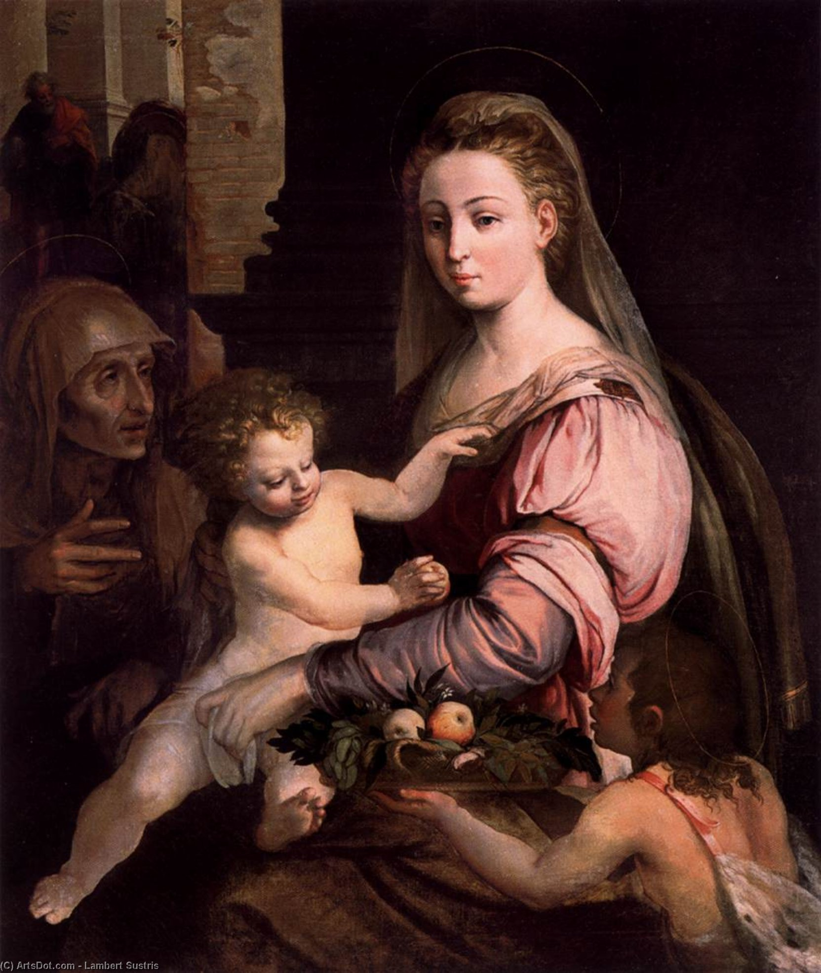 Virgin and Child with St Anne and the Infant St John, Oil On Canvas by Lambert Sustris (1520-1584, Netherlands)