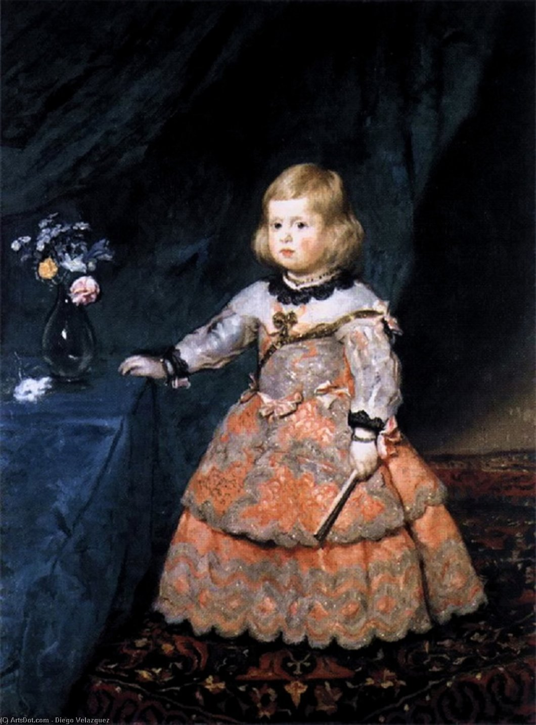 Infanta Margarita, Oil On Canvas by Diego Velazquez (1599-1660, Spain)