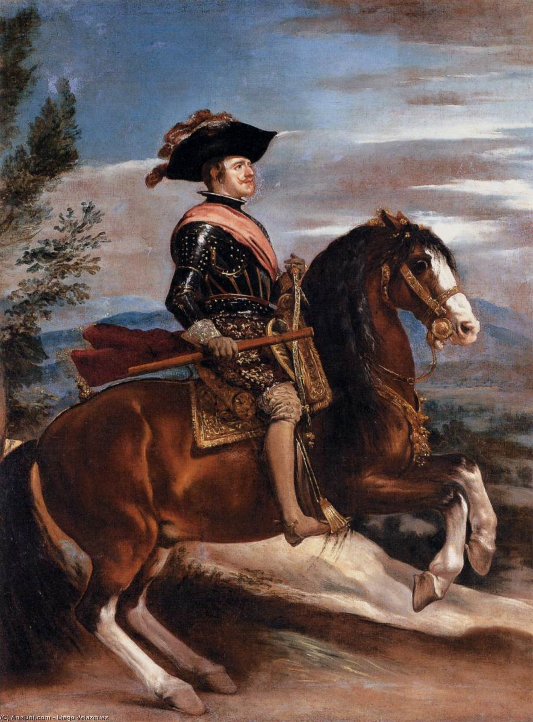Portrait of Philip IV of Spain on Horseback, Oil On Canvas by Diego Velazquez (1599-1660, Spain)