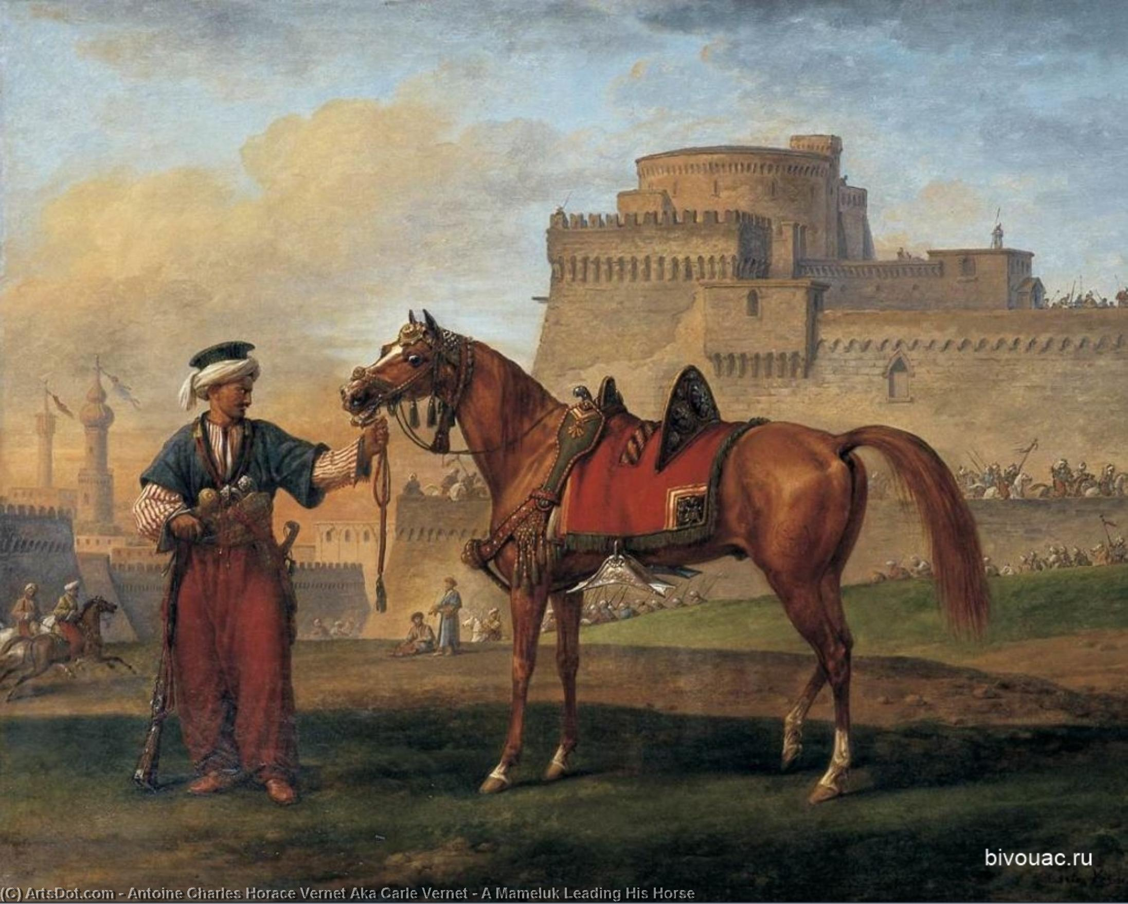 A Mameluk Leading His Horse by Antoine Charles Horace Vernet Aka Carle Vernet (1758-1836, France) | Art Reproduction | ArtsDot.com