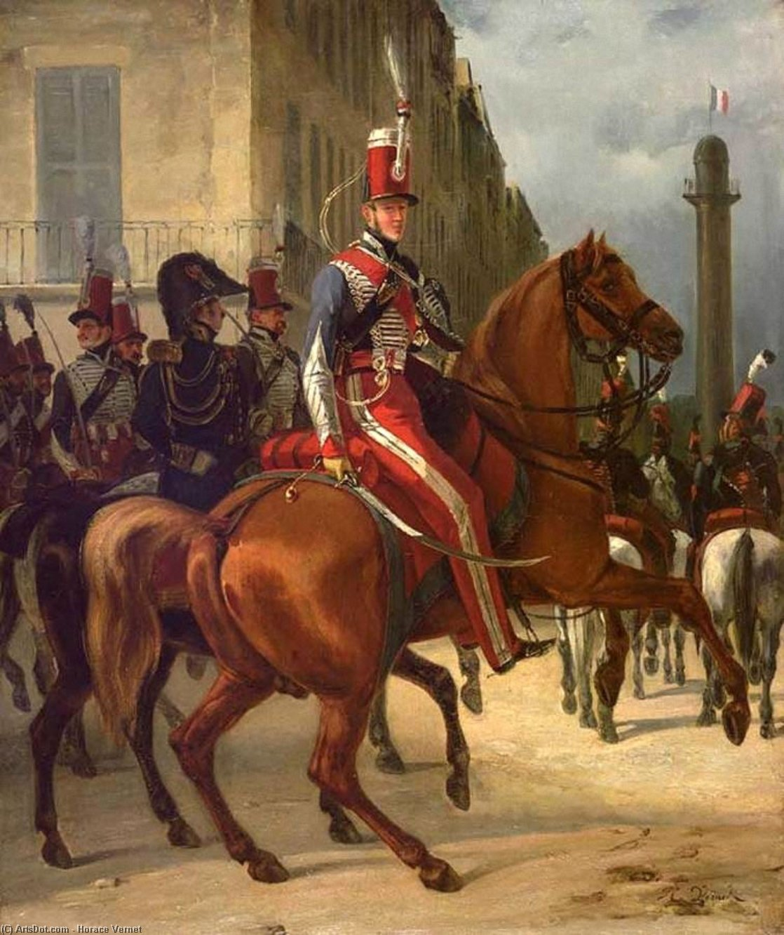 The Duke of Chartres on Horseback, Oil On Canvas by Emile Jean Horace Vernet (1789-1863)