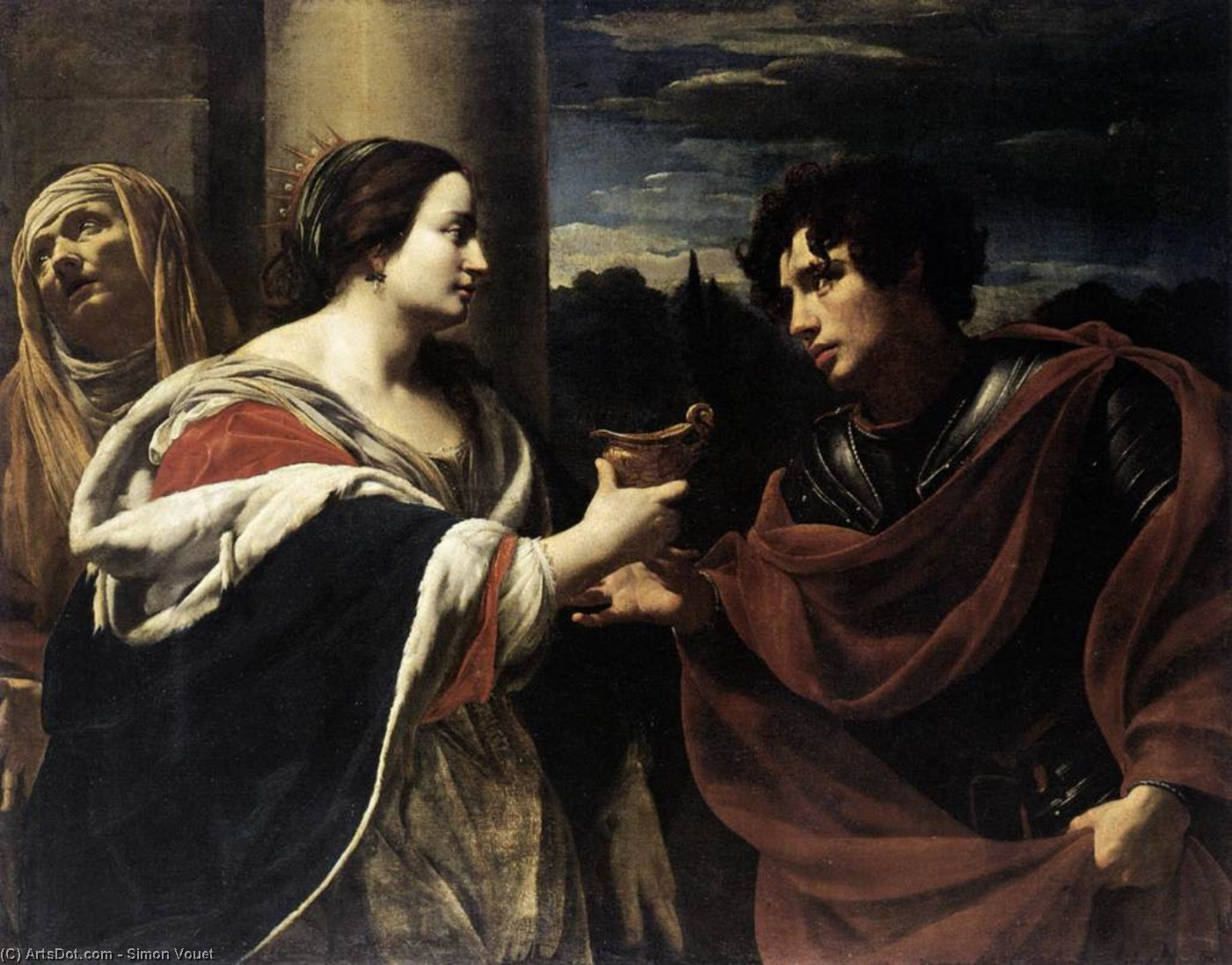 Sophonisba Receiving the Poisoned Chalice, Oil On Canvas by Simon Vouet (1590-1649, France)