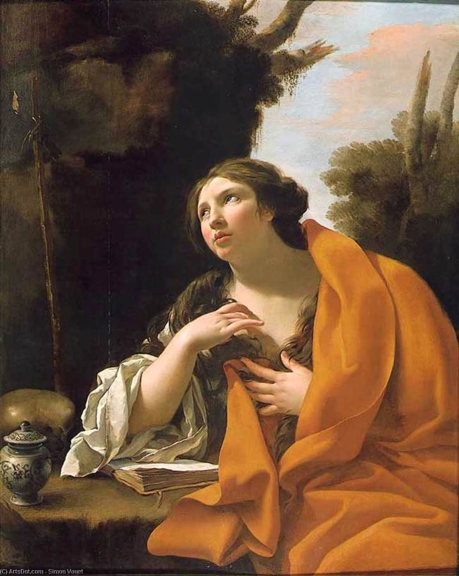 The Penitent Magdalen, Oil On Canvas by Simon Vouet (1590-1649, France)